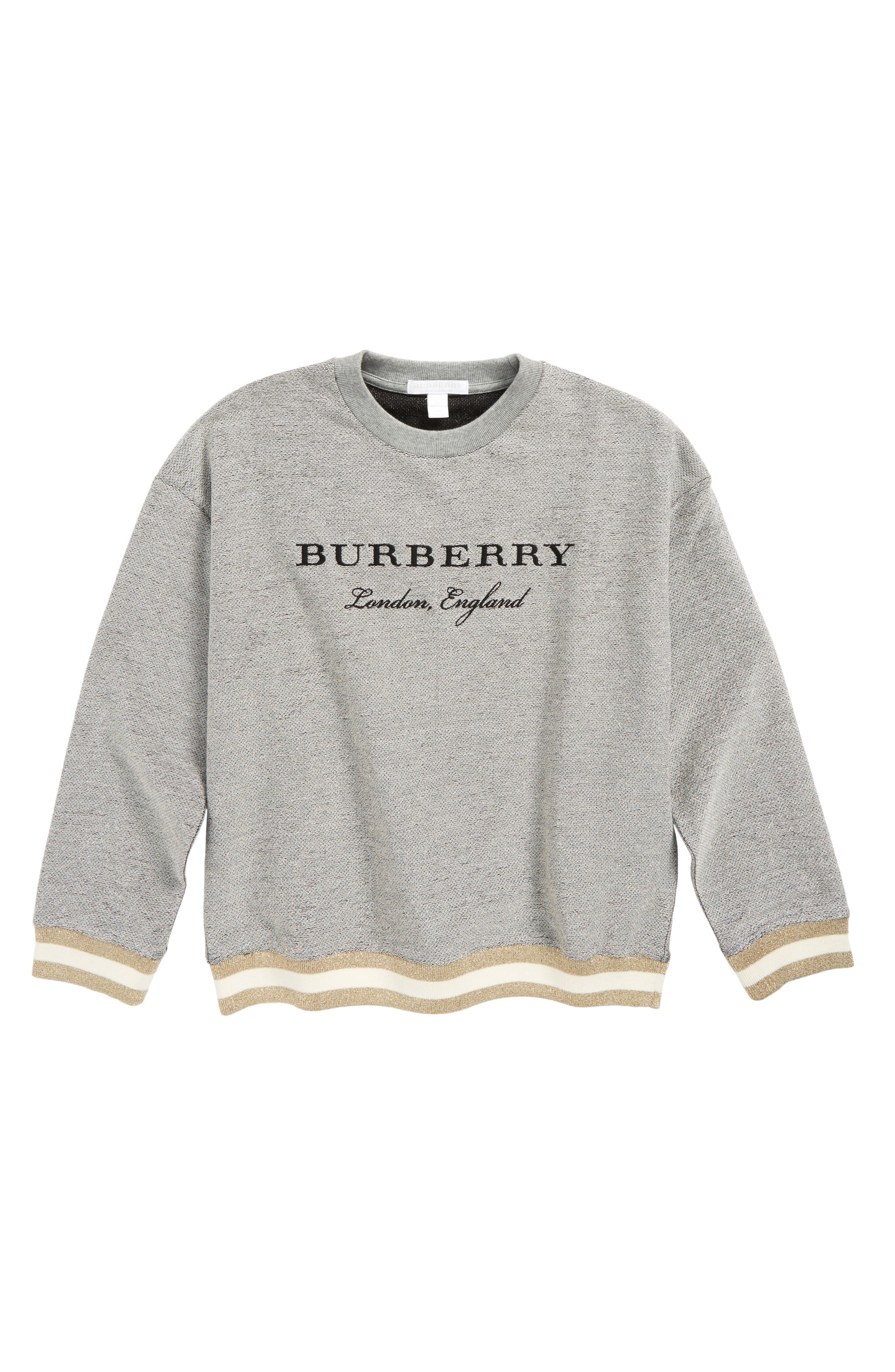 Burberry Eli Metallic Logo Sweatshirt (Little Girls & Big Girls)