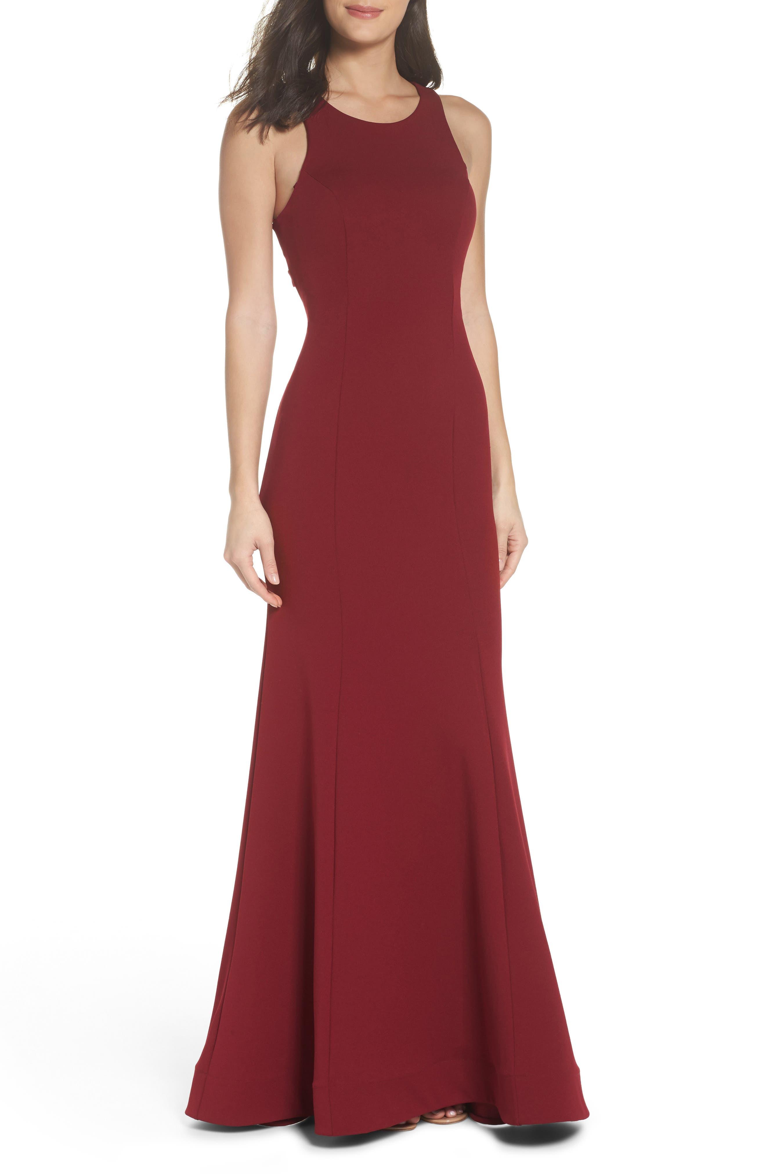 Ruffle Back Scuba Gown,                         Main,                         color, Merlot
