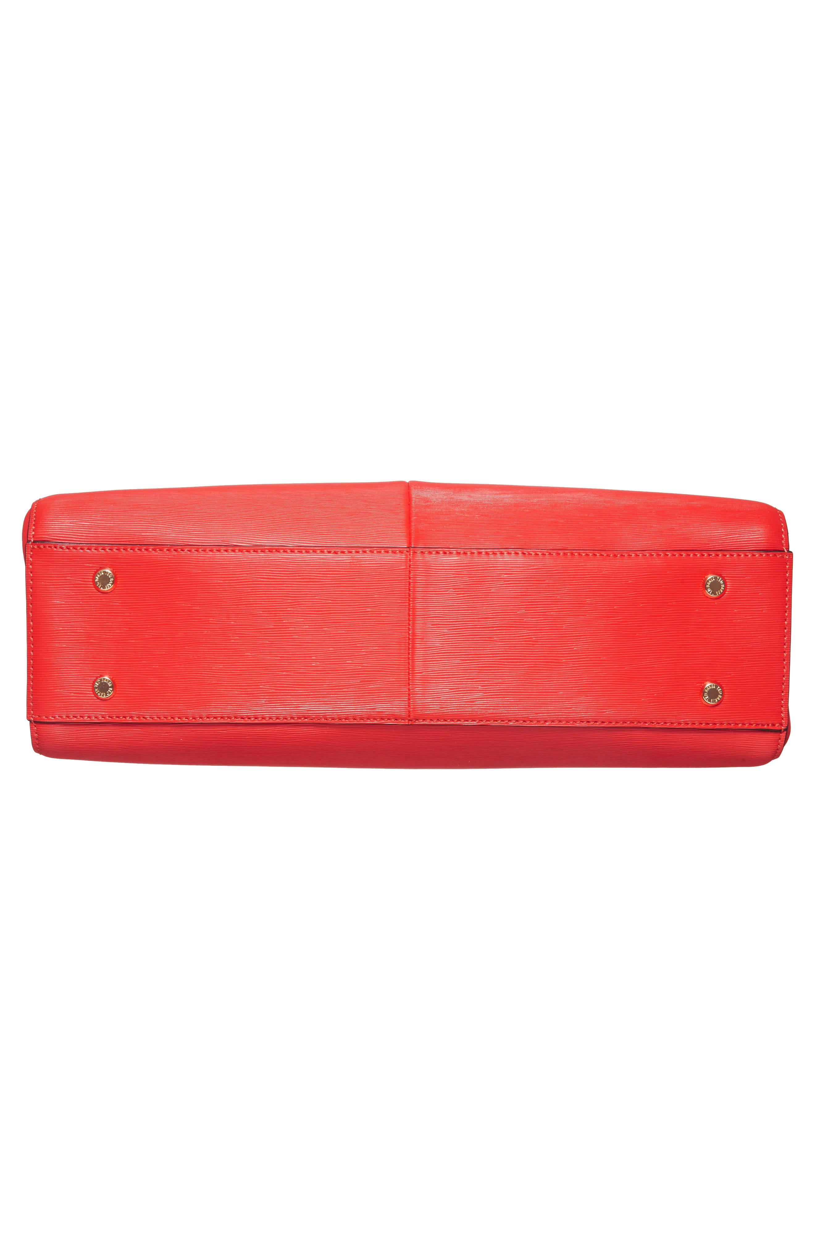 Callaa Bow Leather Shopper,                             Alternate thumbnail 5, color,                             Bright Red