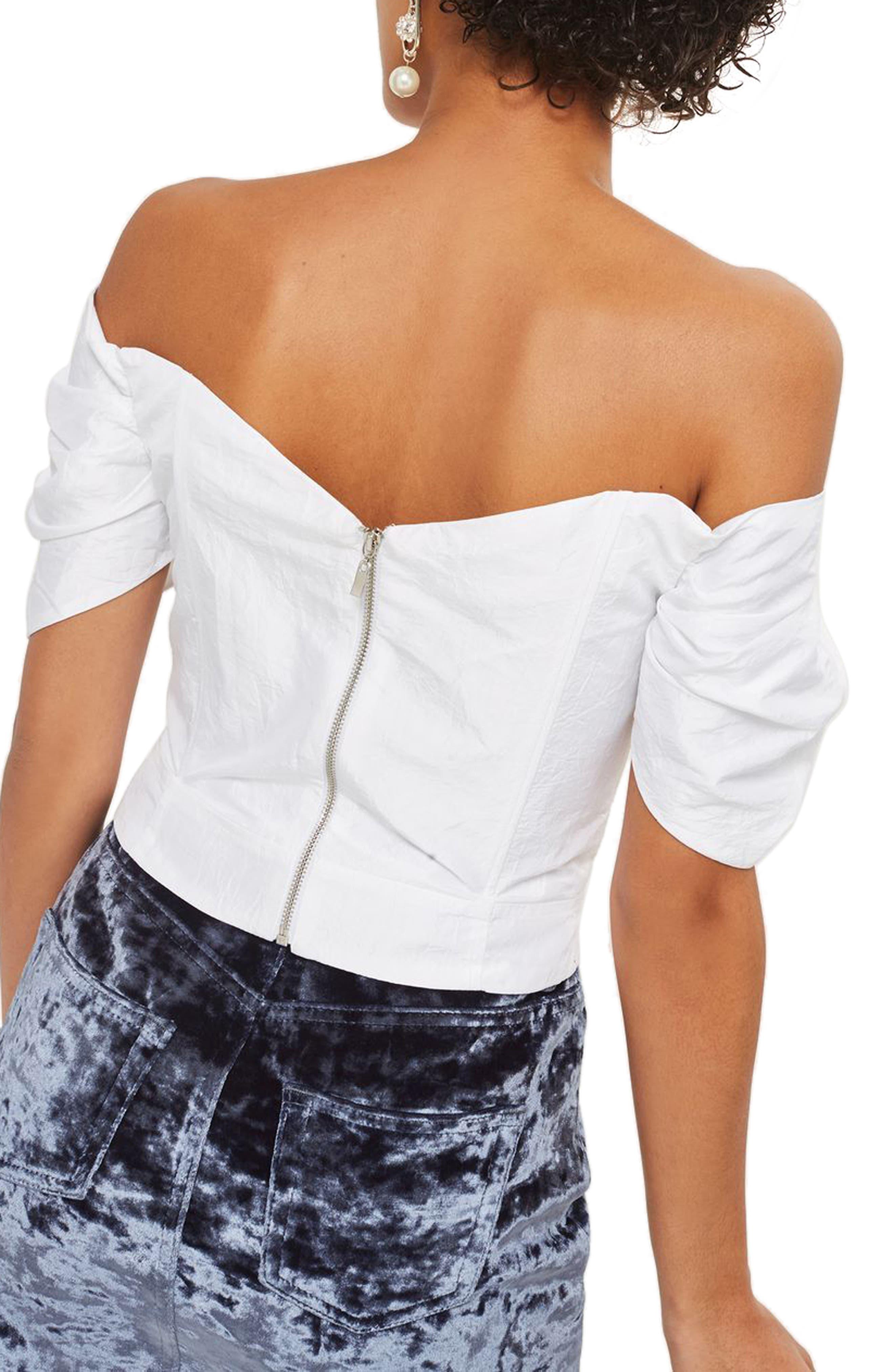 Alternate Image 2  - Topshop Puff Sleeve Taffeta Off the Shoulder Top