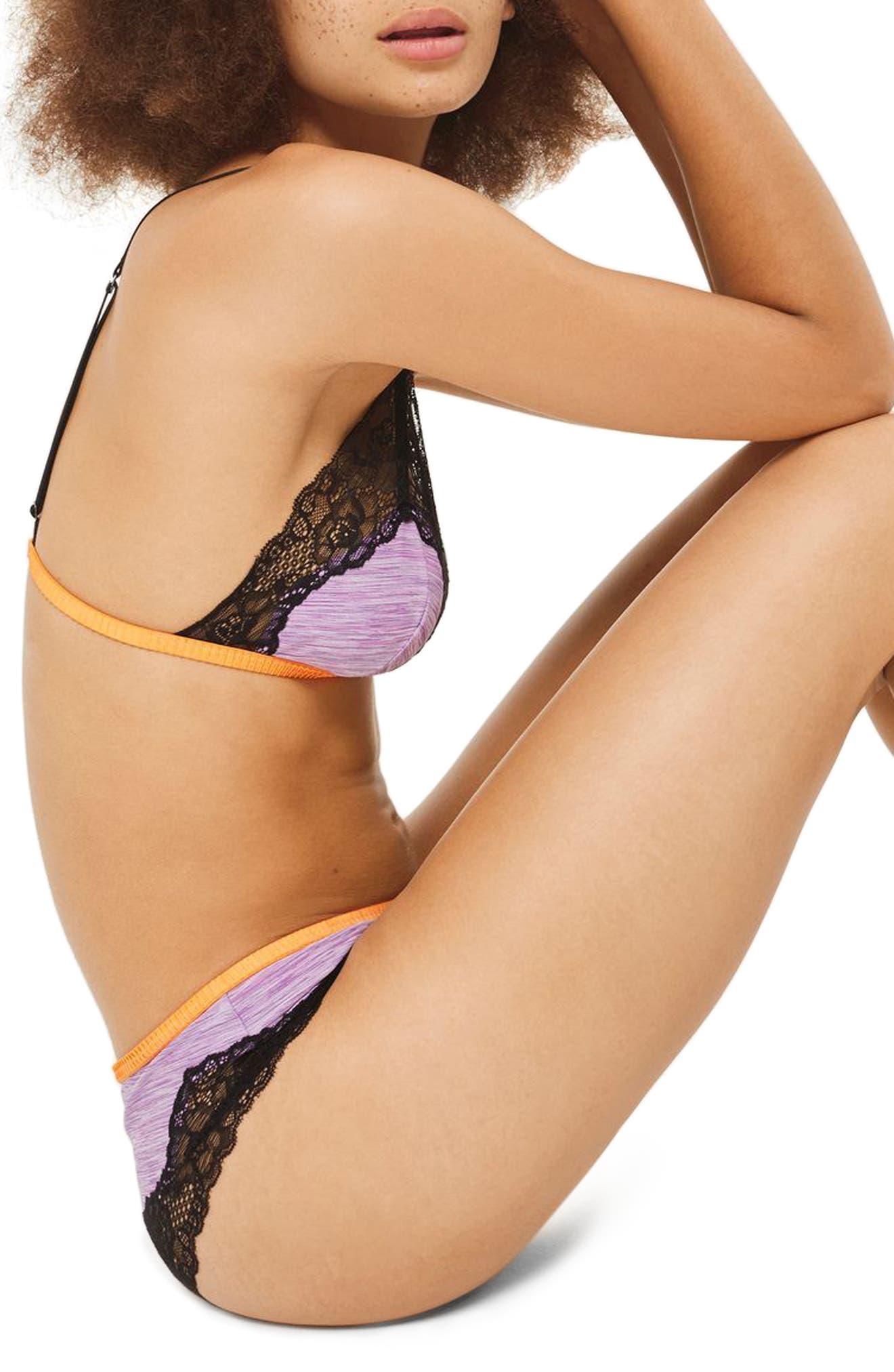 Alexis Lace Trim Jersey Hipster Panties,                             Alternate thumbnail 3, color,                             Purple Multi