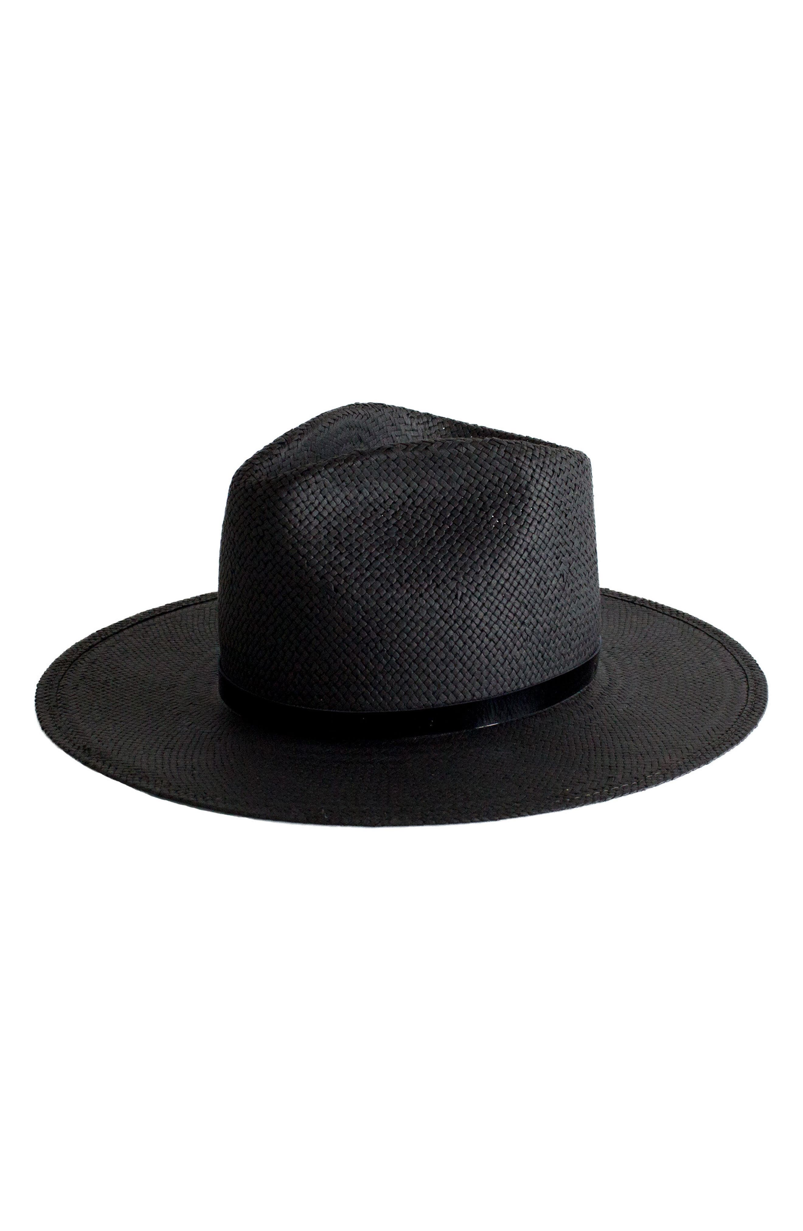 Lex Packable Straw Fedora,                         Main,                         color, Black