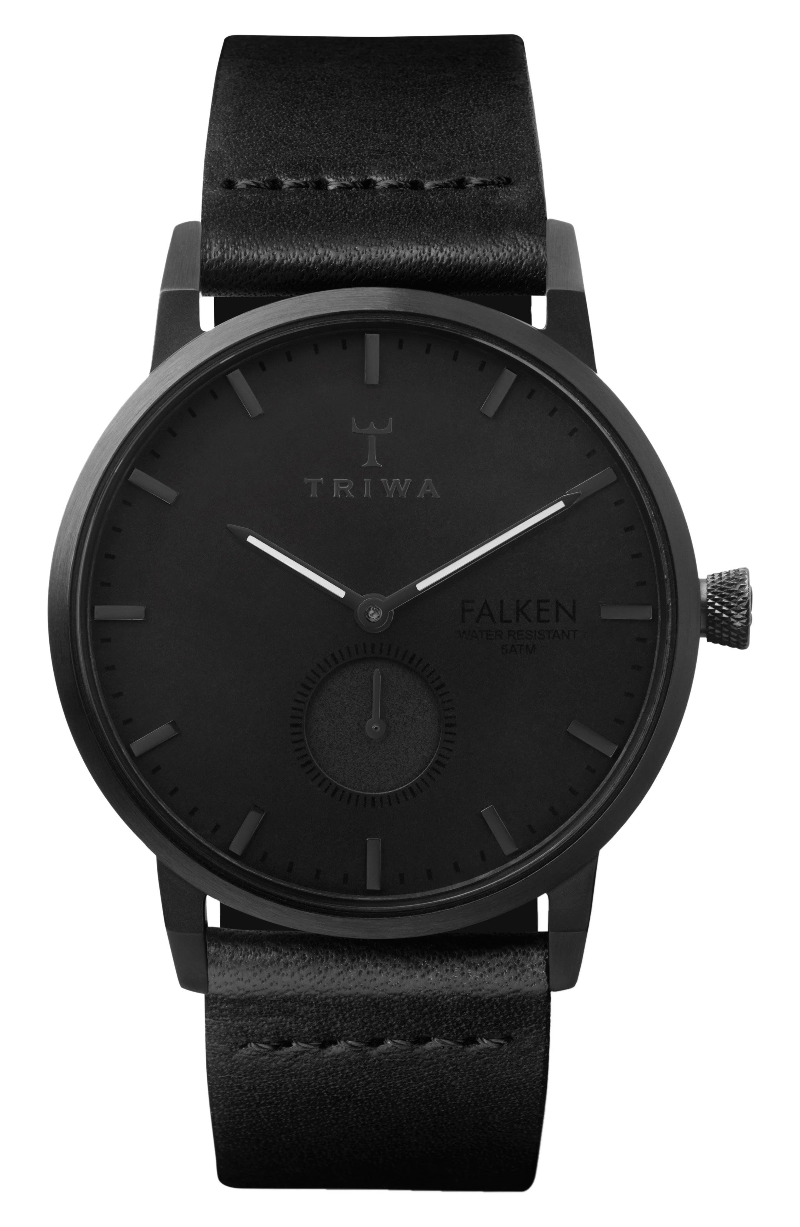 Midnight Falken Leather Strap Watch, 38mm,                         Main,                         color, Black