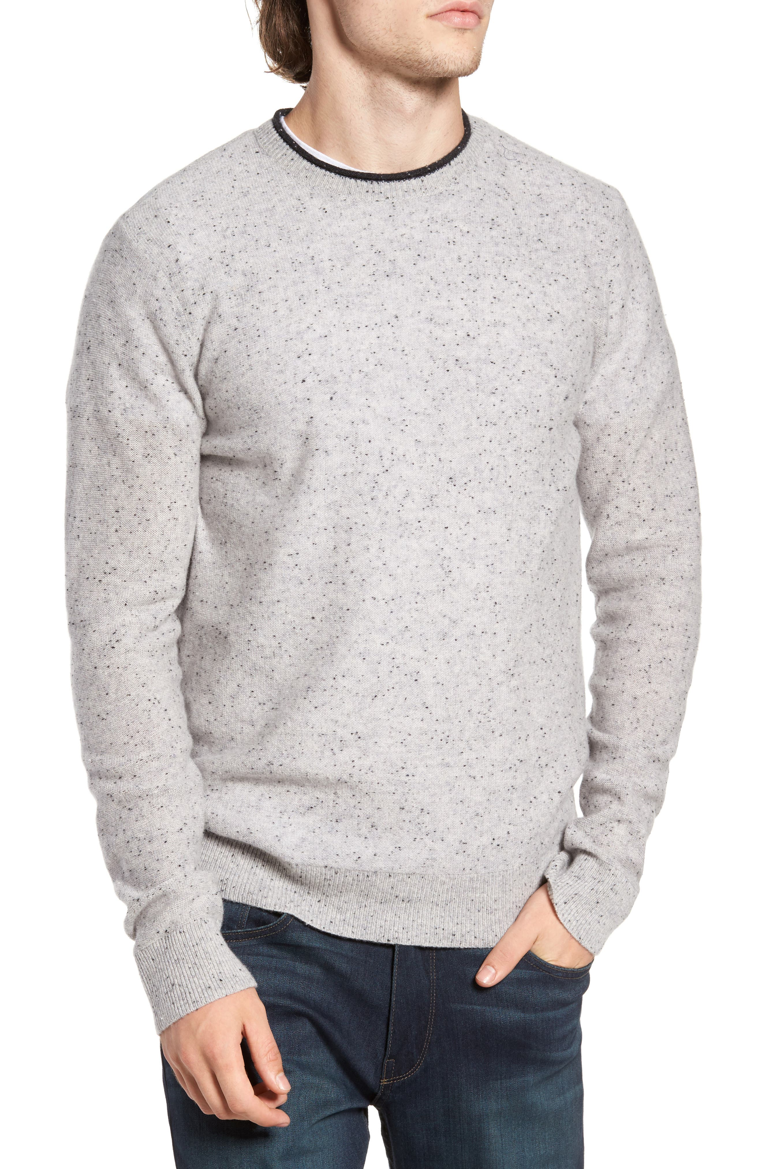 Nep Wool & Cashmere Sweater,                             Main thumbnail 1, color,                             Grey Donegal