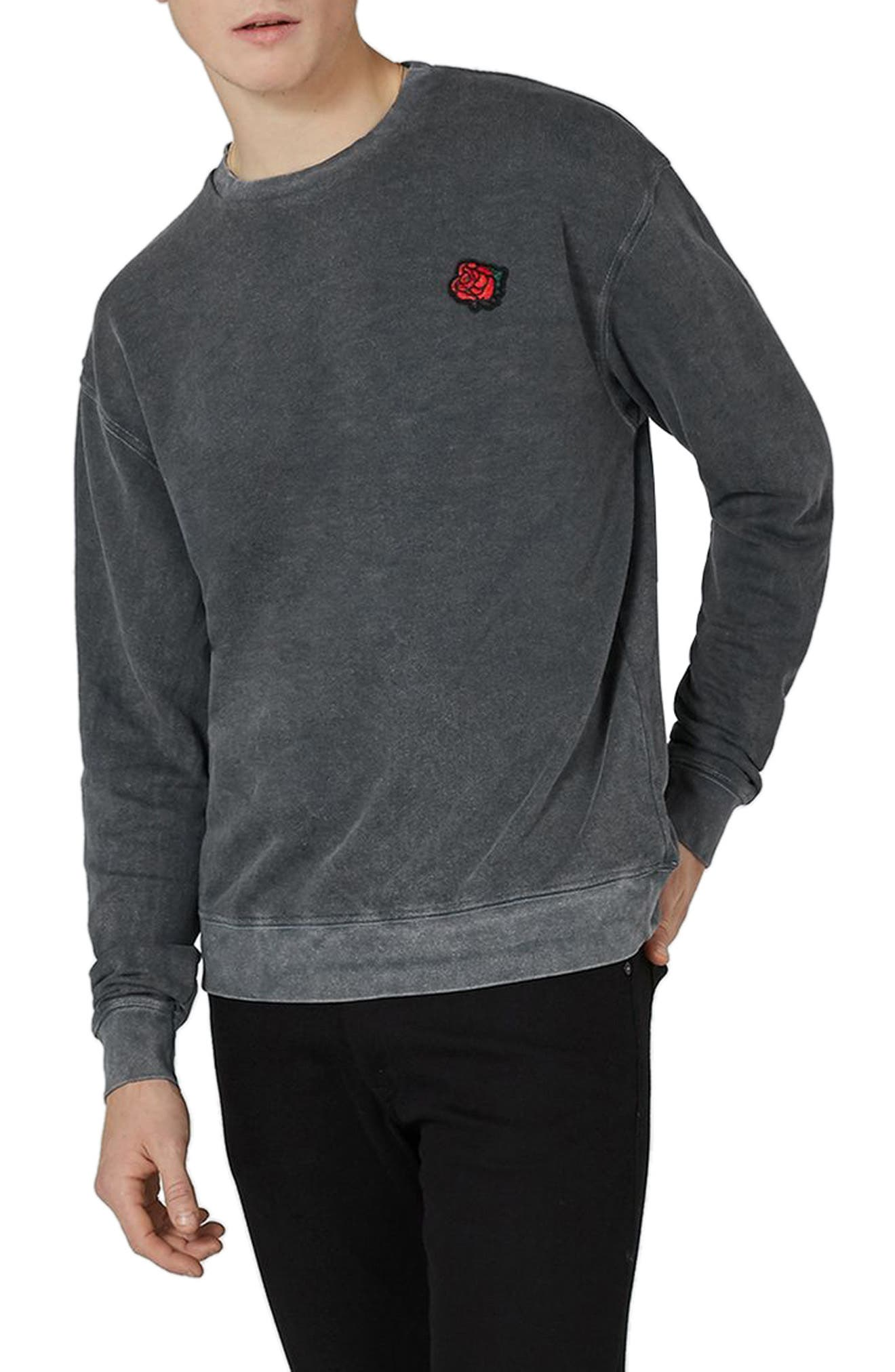 Percy Rose Embroidered Sweatshirt,                         Main,                         color, Grey