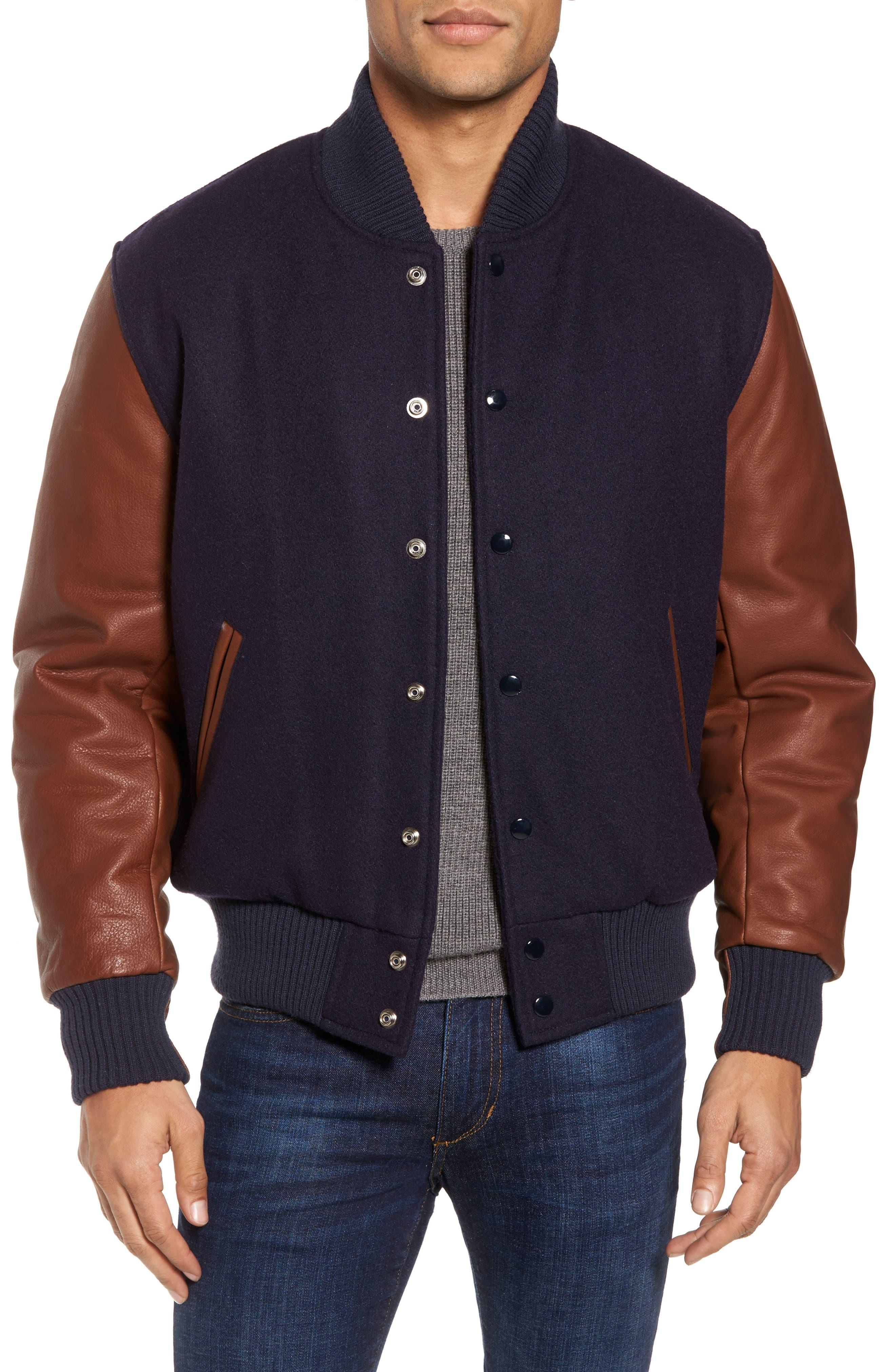 Classic Varsity Jacket,                         Main,                         color, Navy