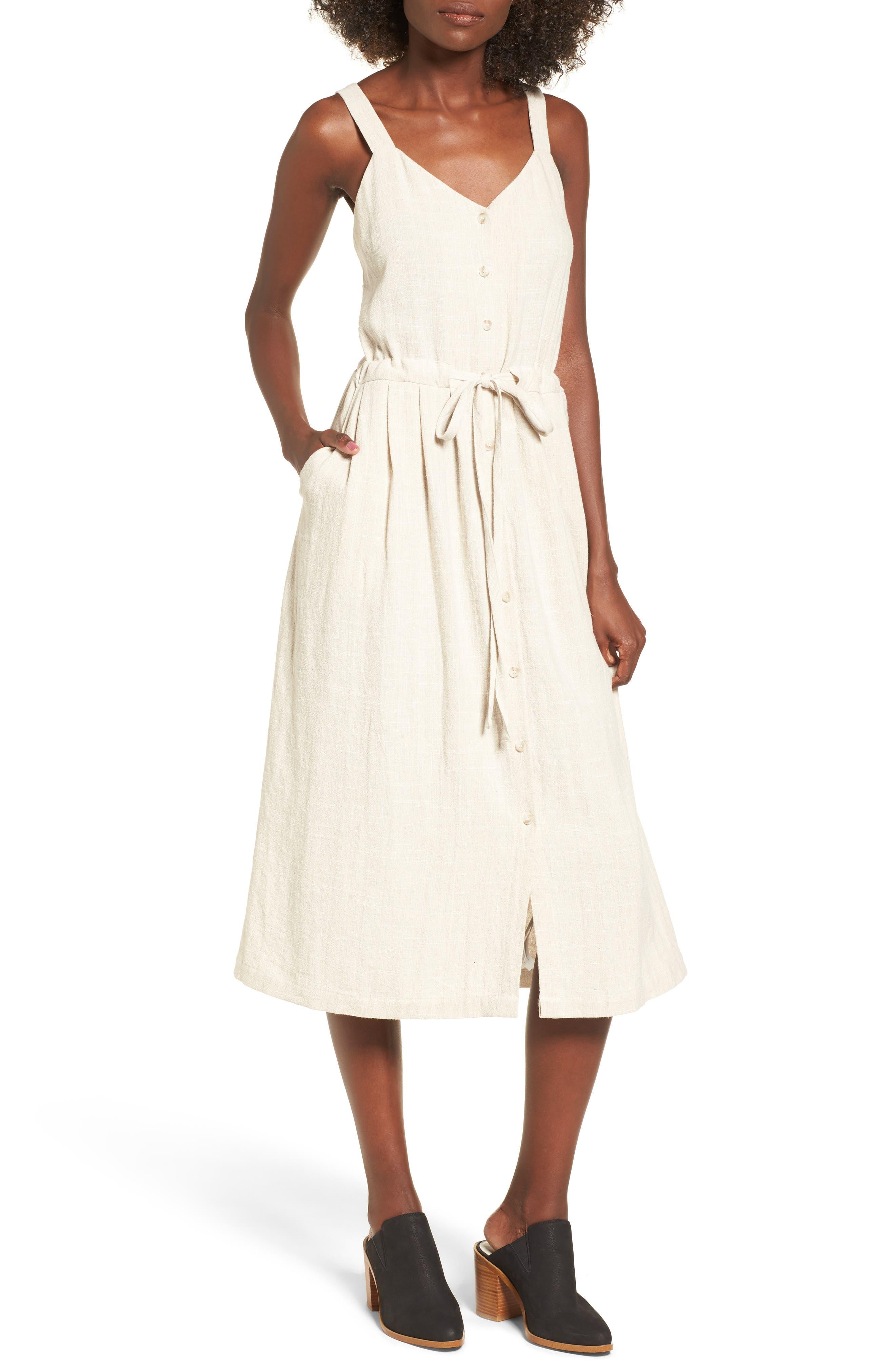 Button Up Drawstring Midi Dress,                         Main,                         color, Natural