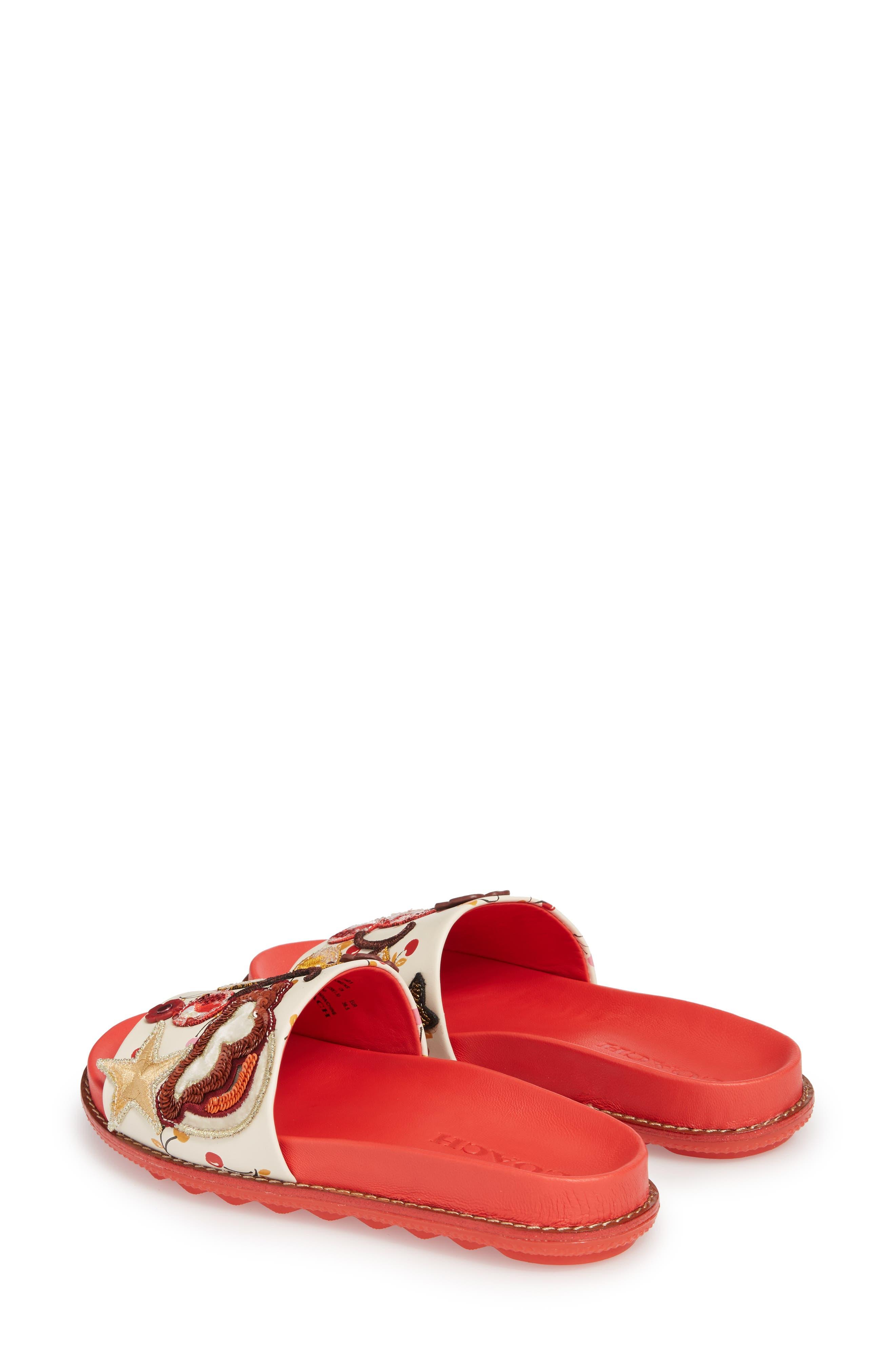 Patch Sport Slide Sandal,                             Alternate thumbnail 2, color,                             Ivory/ Red Leather