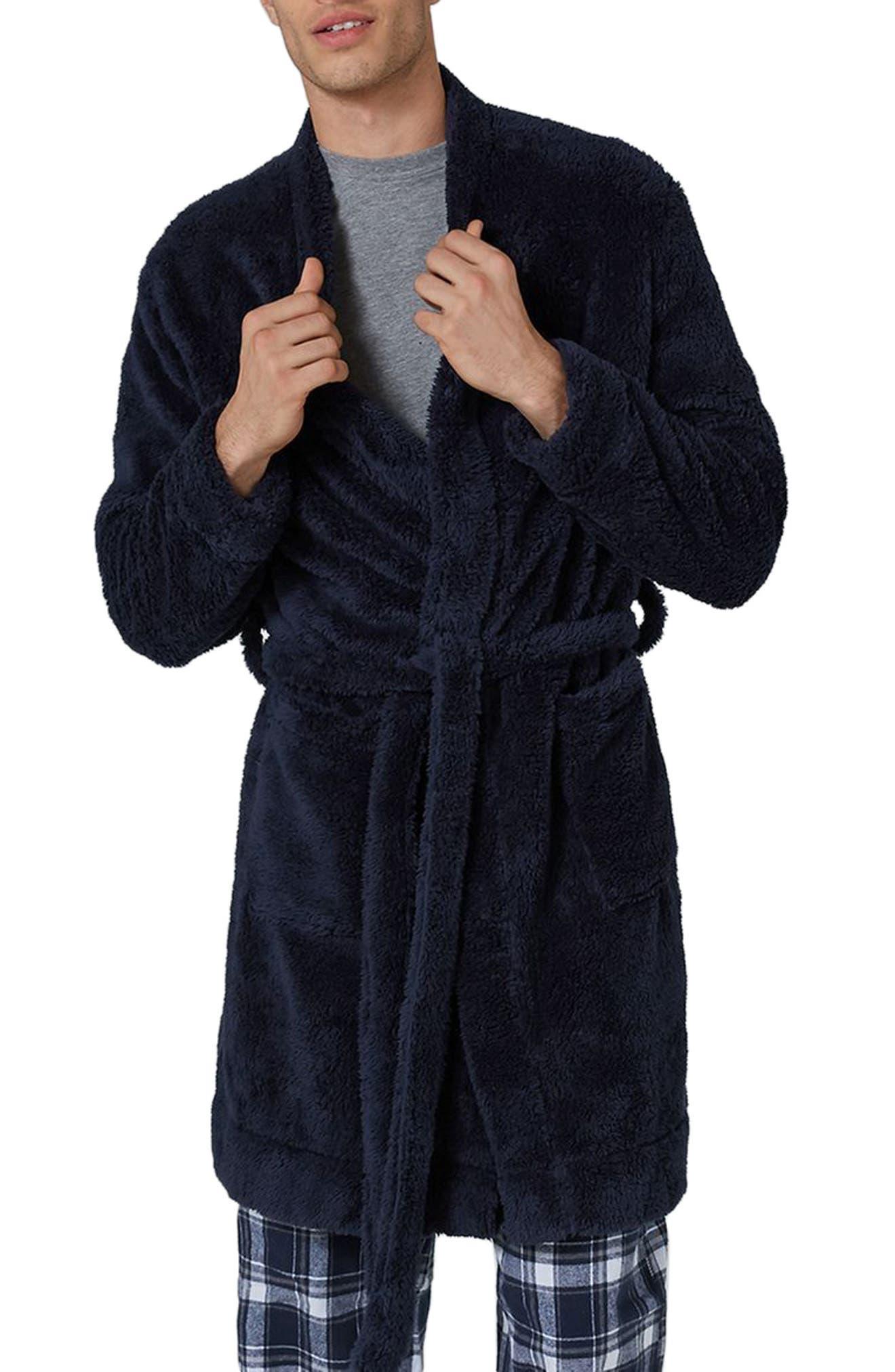 Fleece Robe,                         Main,                         color, Dark Blue