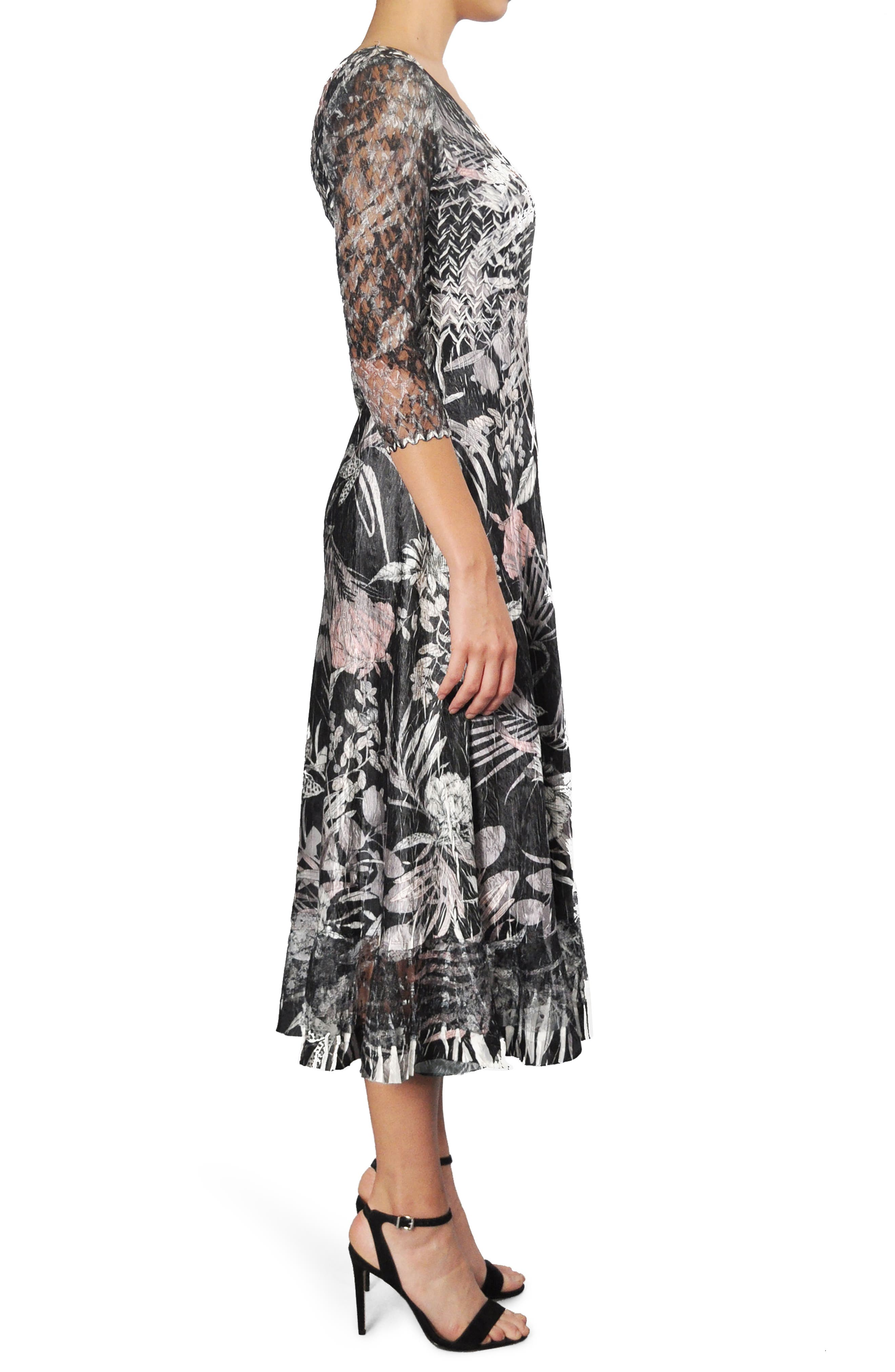 Print Charmeuse A-Line Midi Dress,                             Alternate thumbnail 3, color,                             Shaded Tropic