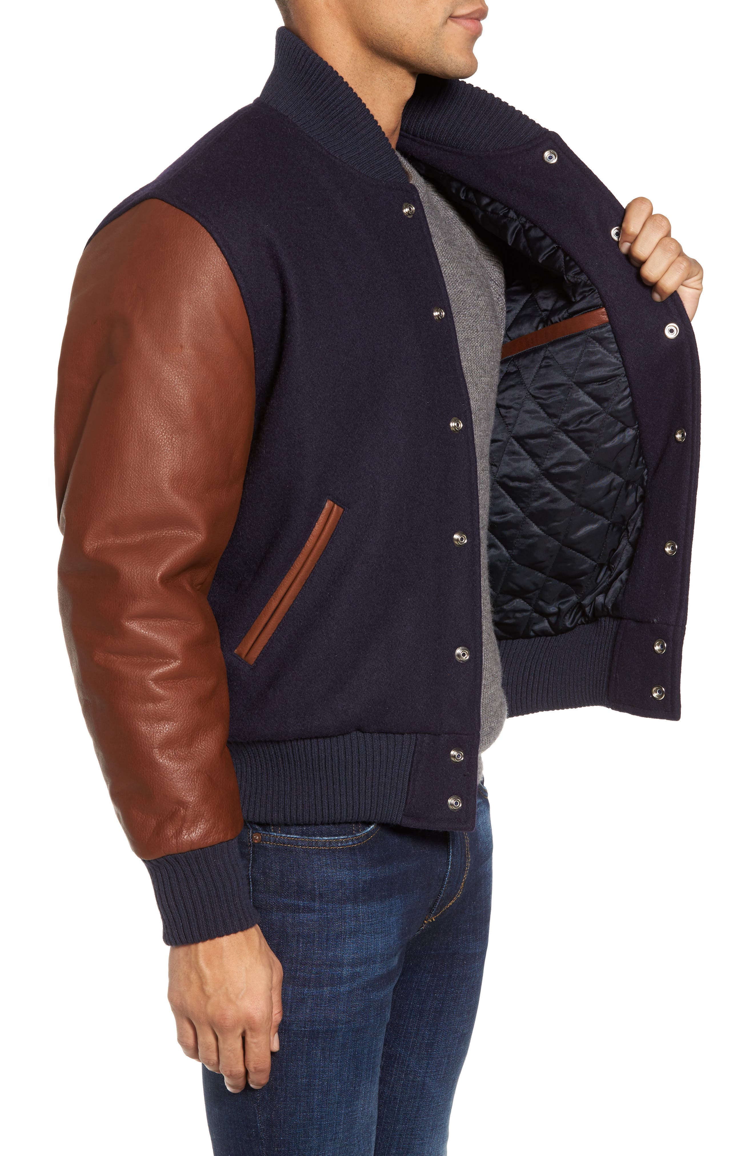 Classic Varsity Jacket,                             Alternate thumbnail 3, color,                             Navy