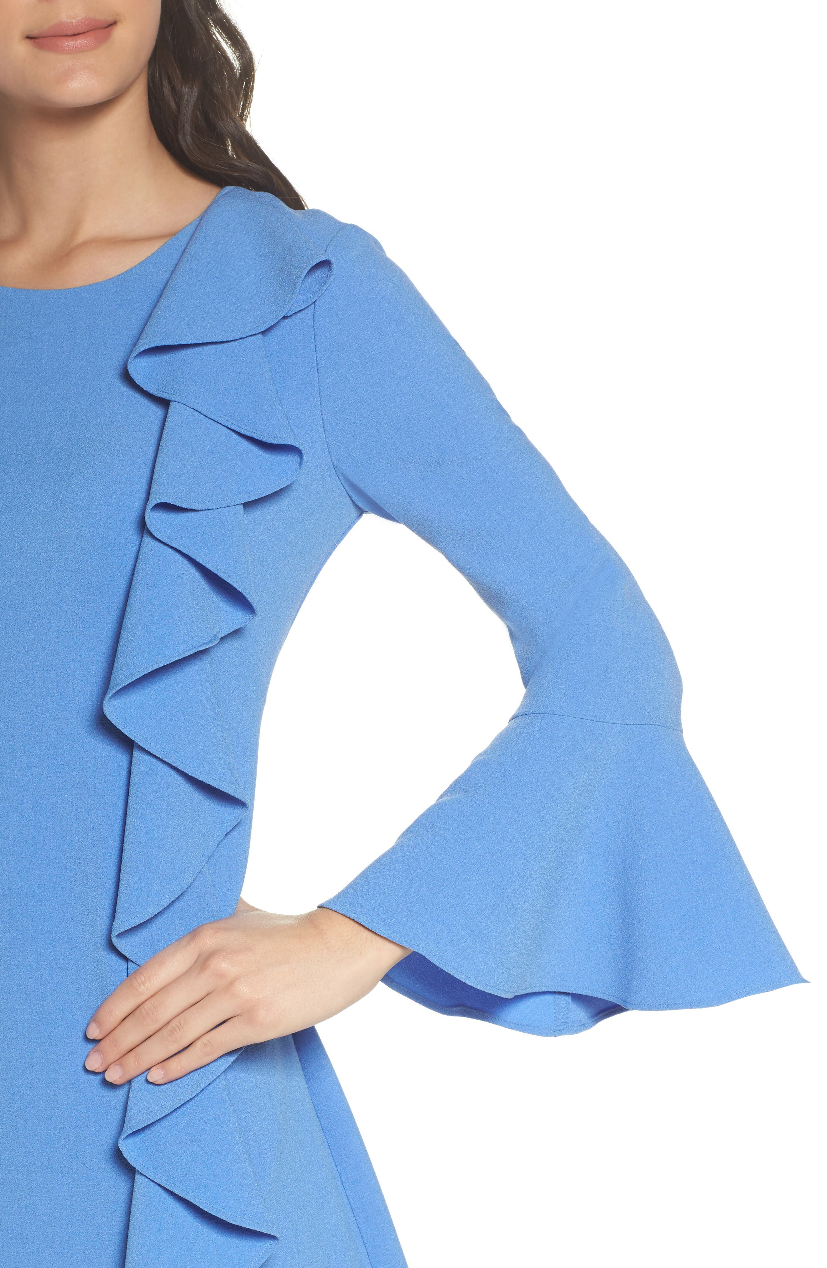 Ruffle Shift Dress,                             Alternate thumbnail 4, color,                             Blue Azurite