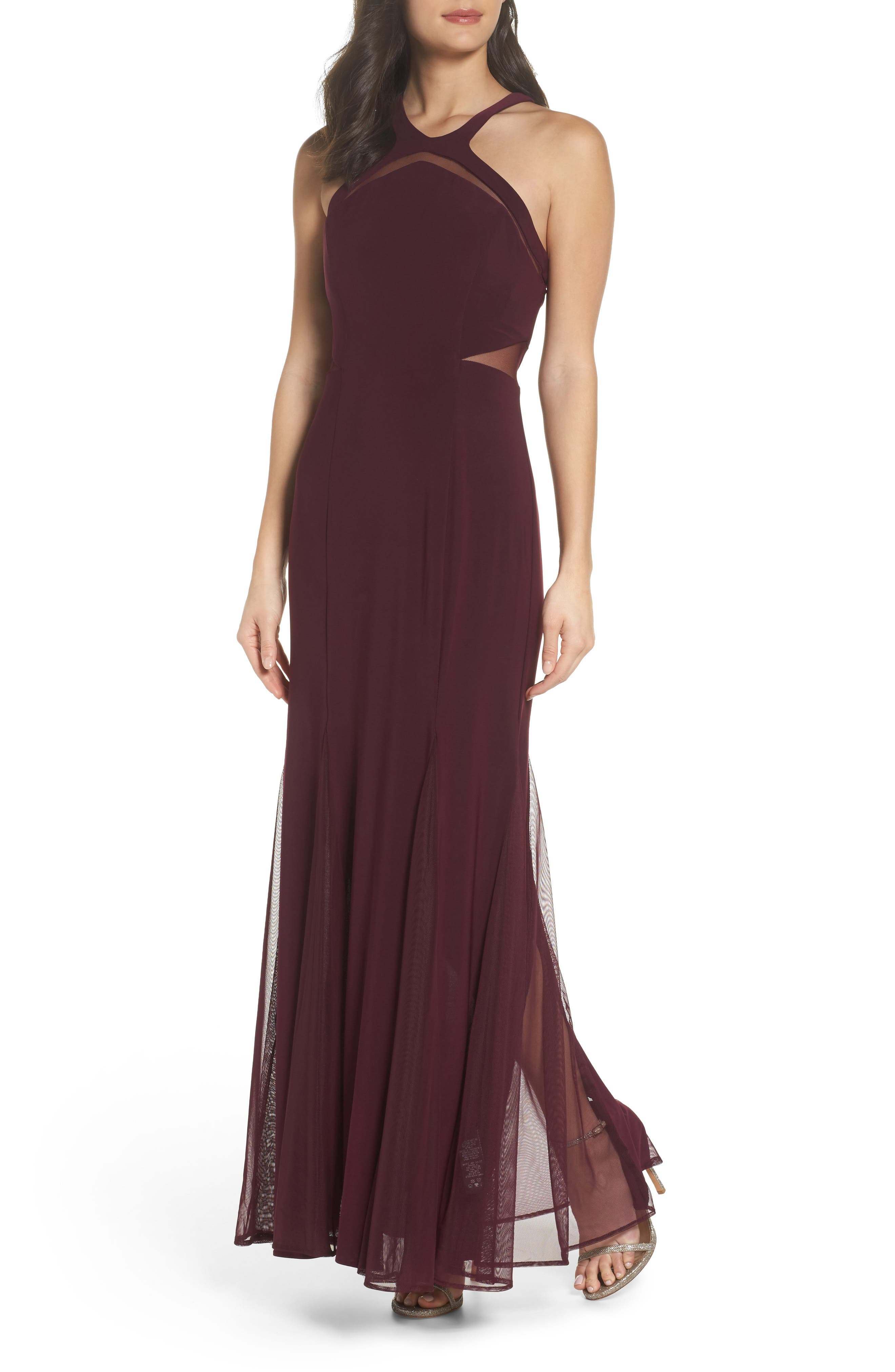 Mesh Inset Knit Mermaid Gown,                         Main,                         color, Wine
