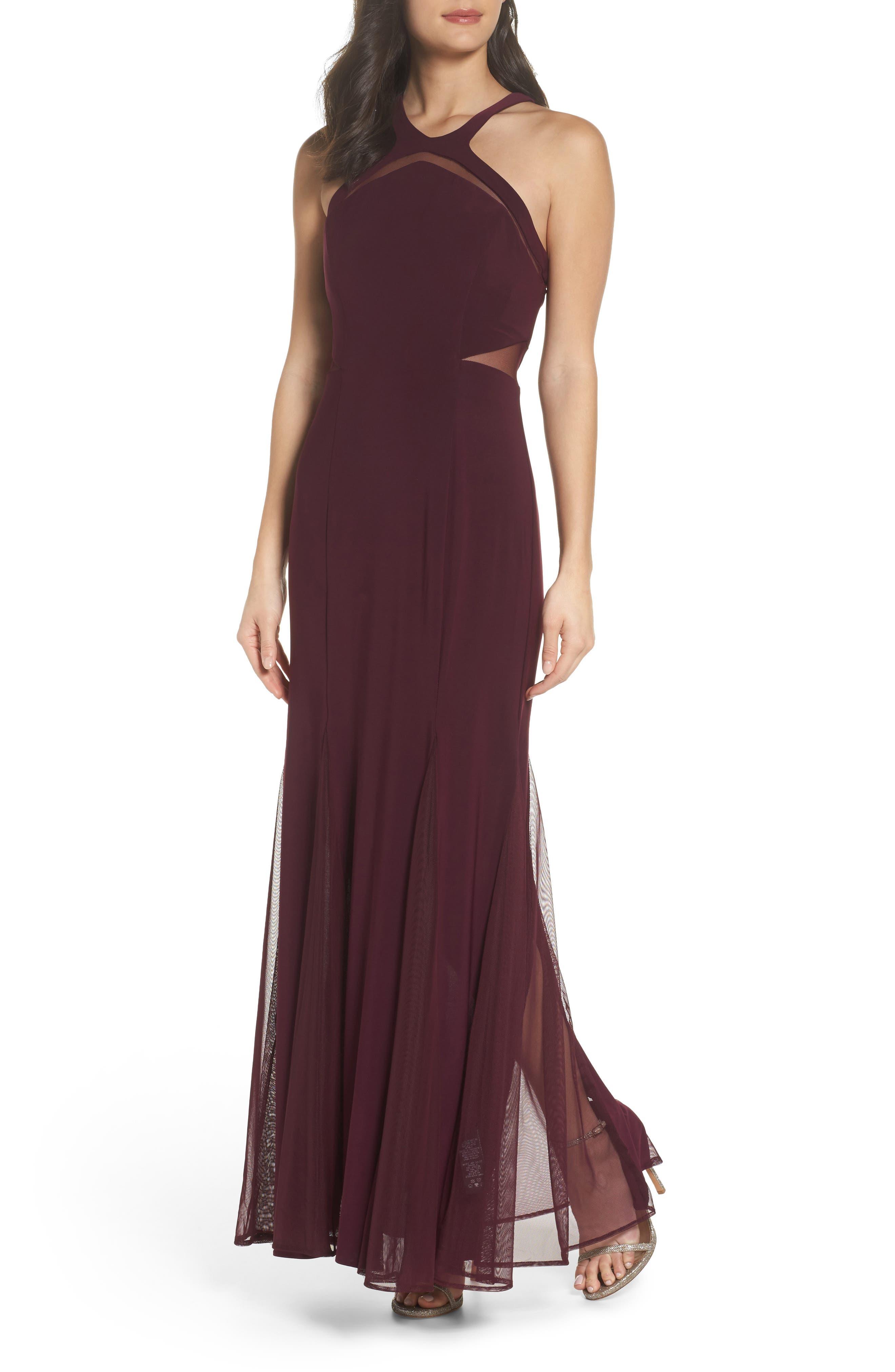 Morgan & Co. Mesh Inset Knit Mermaid Gown