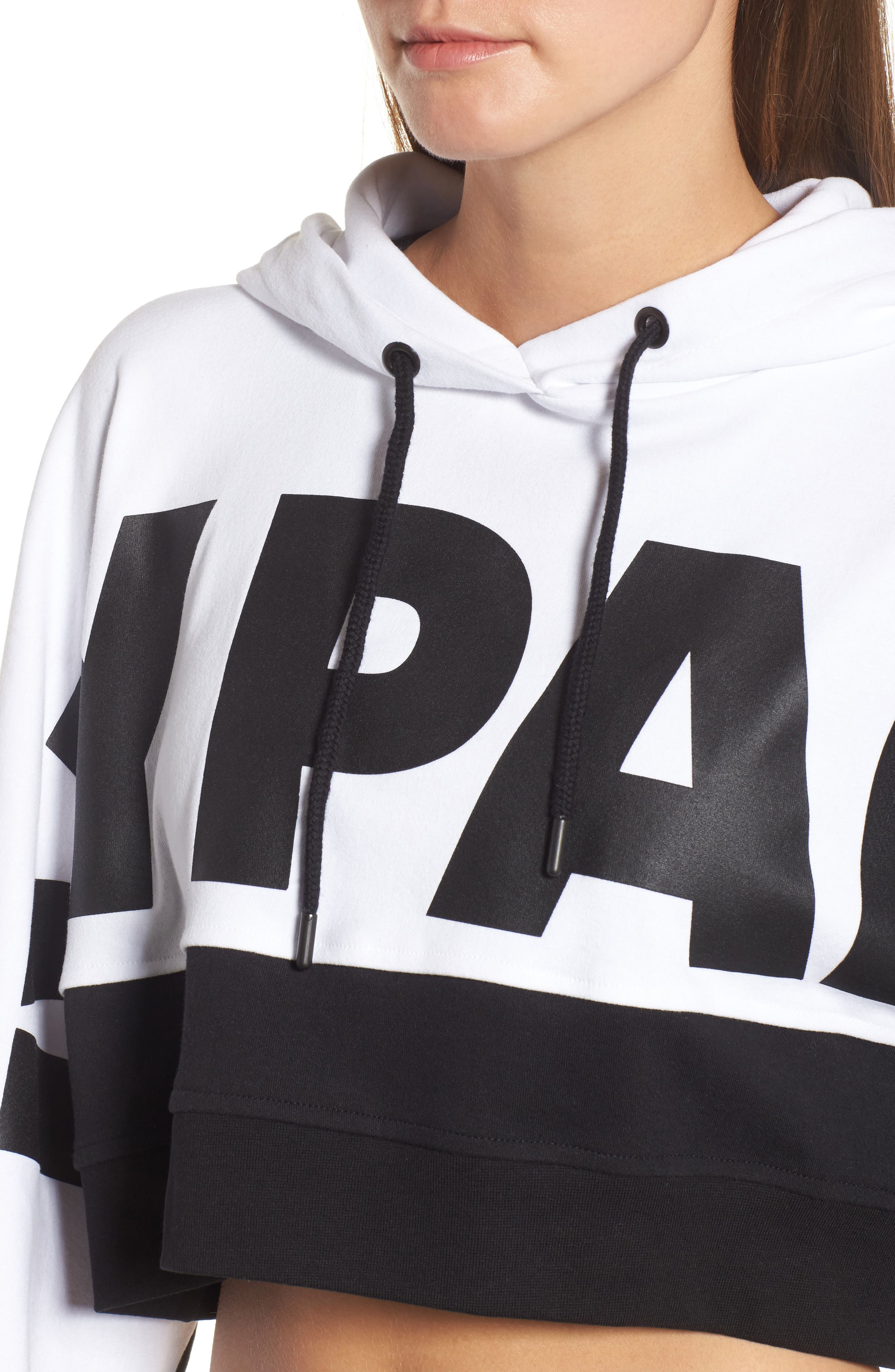 Crop Hoodie,                             Alternate thumbnail 4, color,                             White