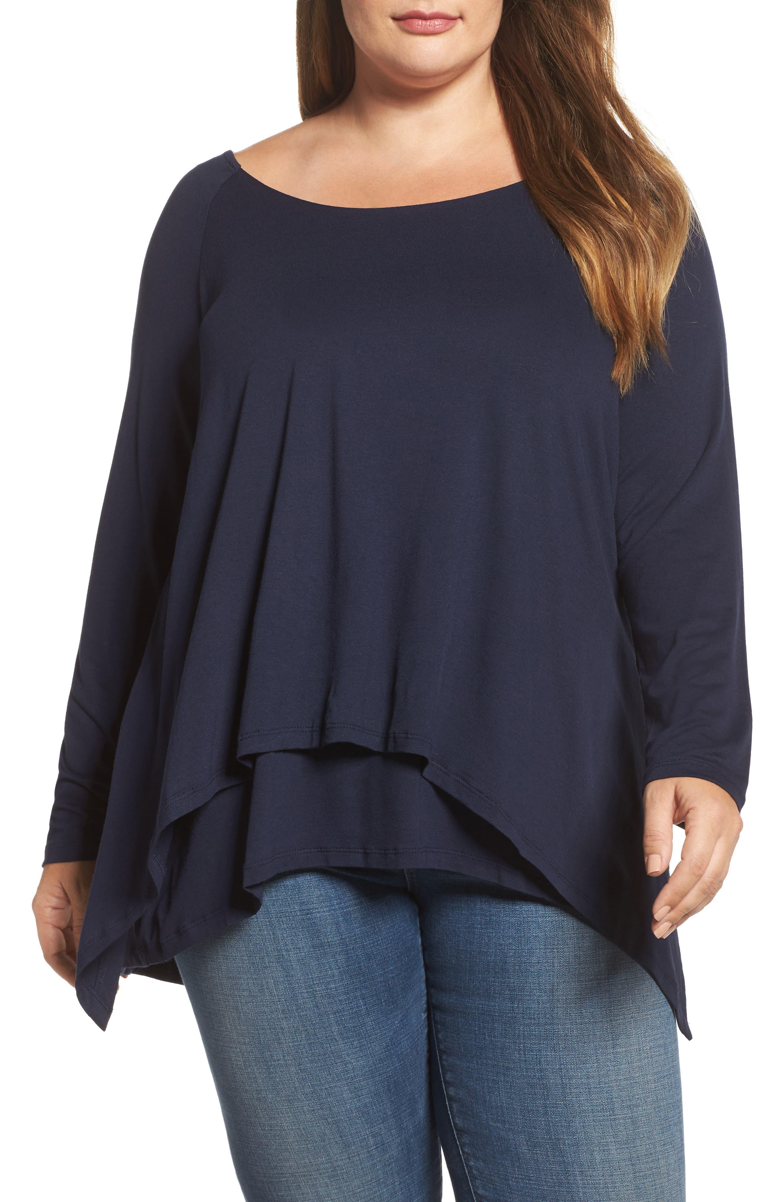 Alternate Image 1 Selected - Bobeau Layered Knit Top (Plus Size)