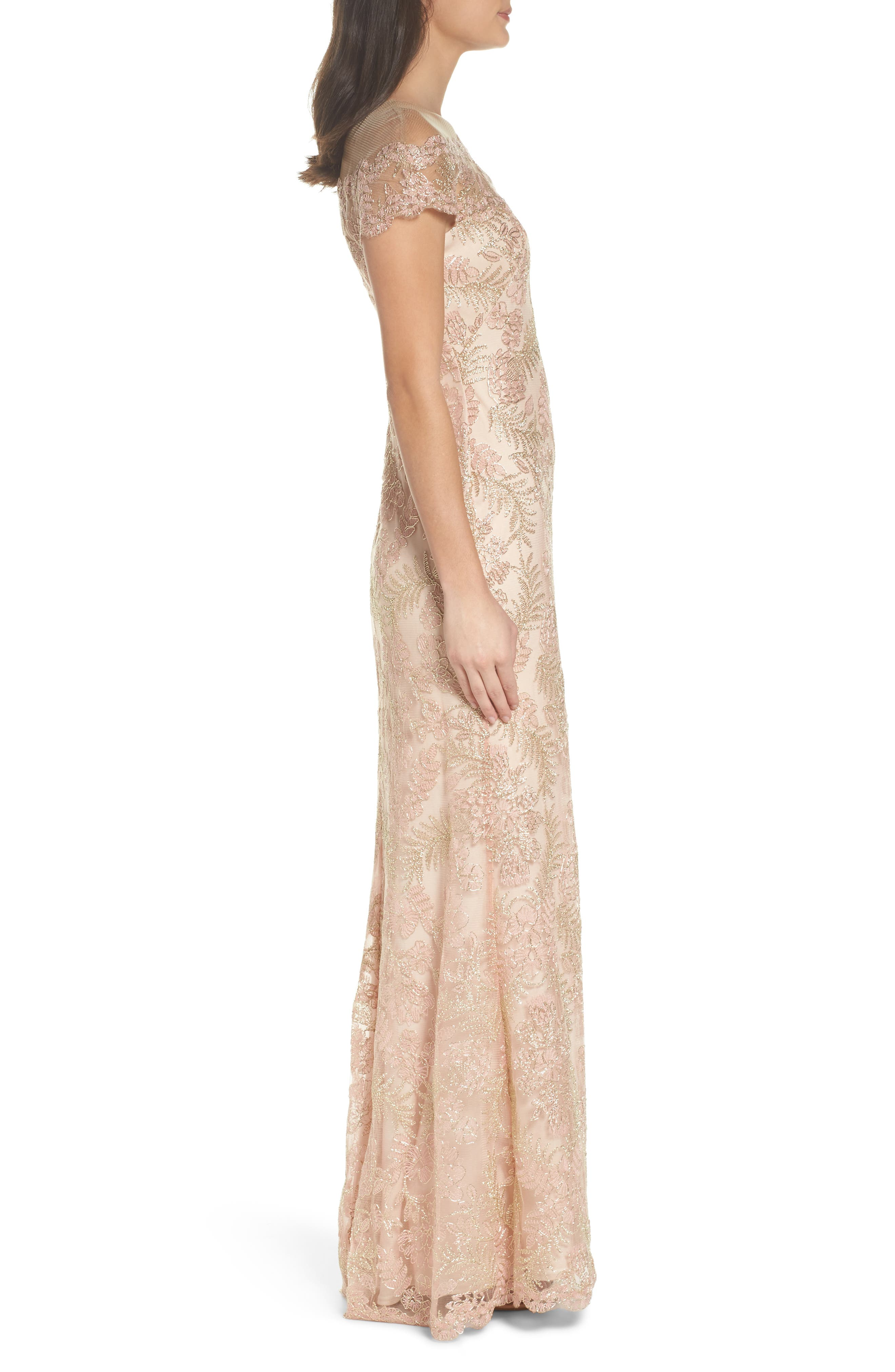 Tulle Gown,                             Alternate thumbnail 3, color,                             Petal/ Gold