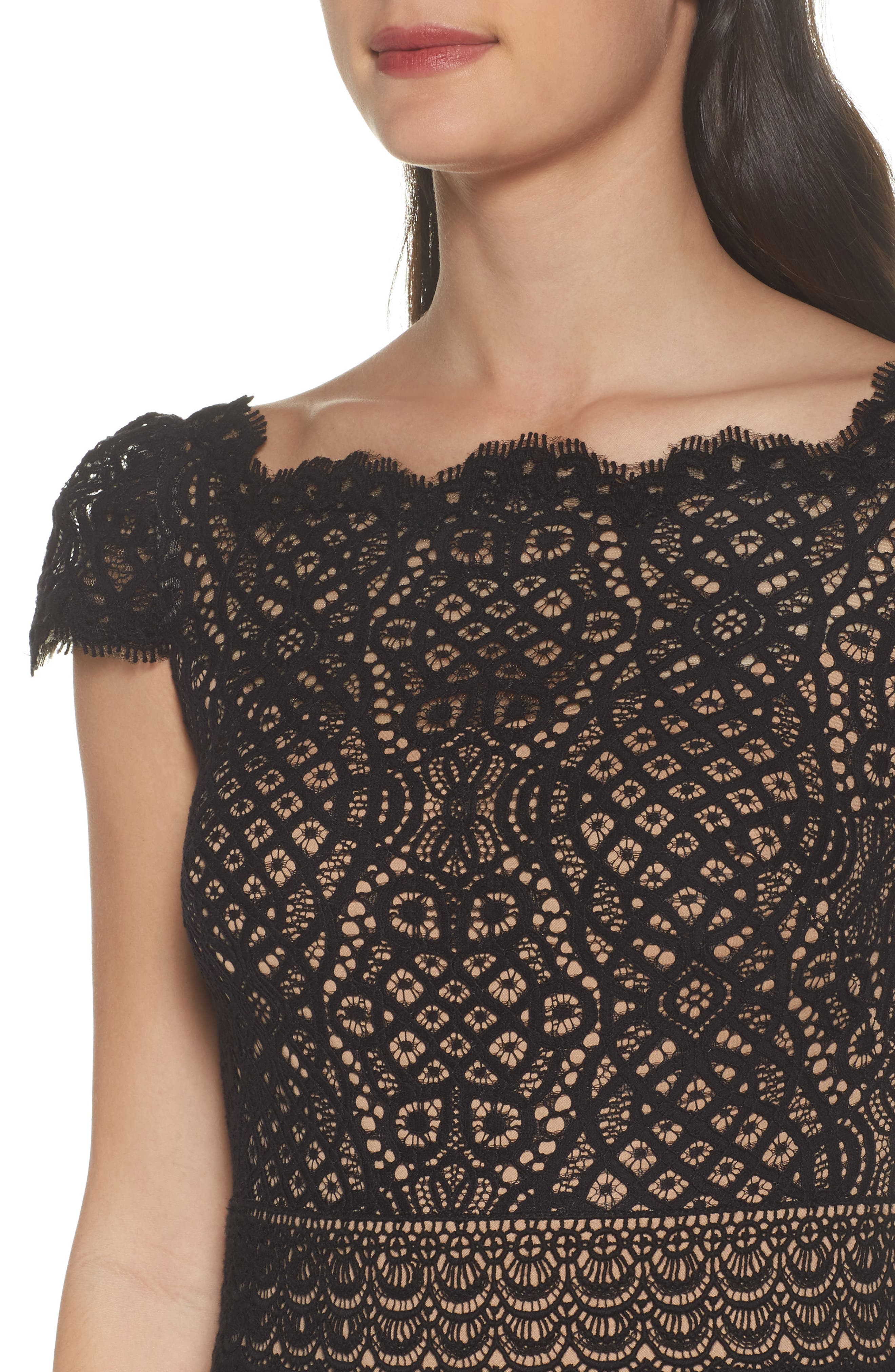 Lace Cap Sleeve Dress,                             Alternate thumbnail 4, color,                             Black / Nude