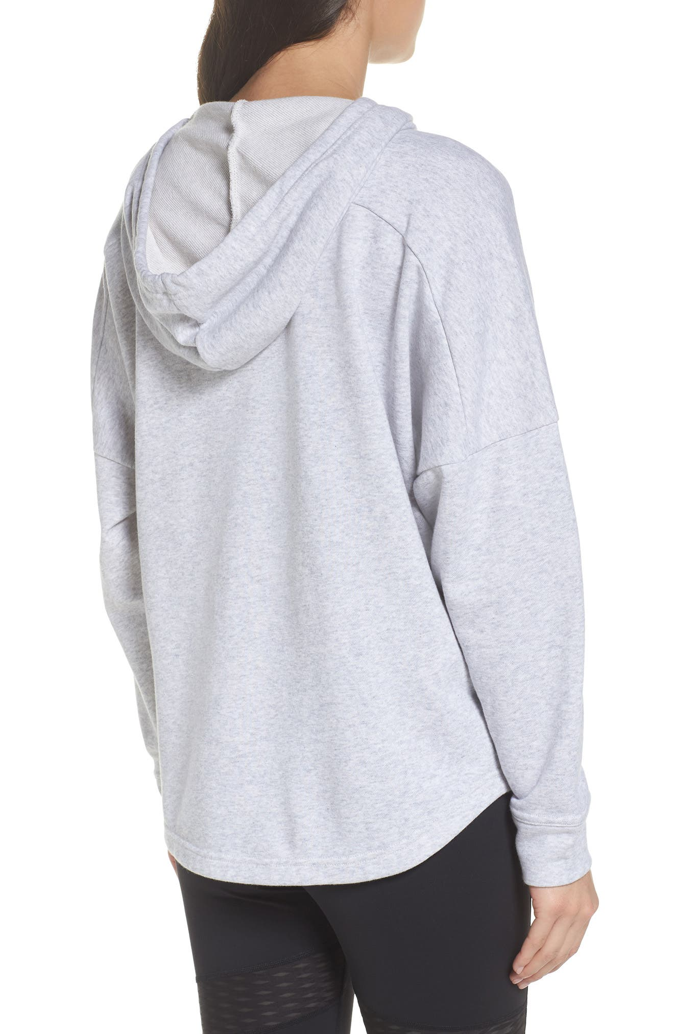 French Terry Tunic Hoodie,                             Alternate thumbnail 2, color,                             Light Grey Heather