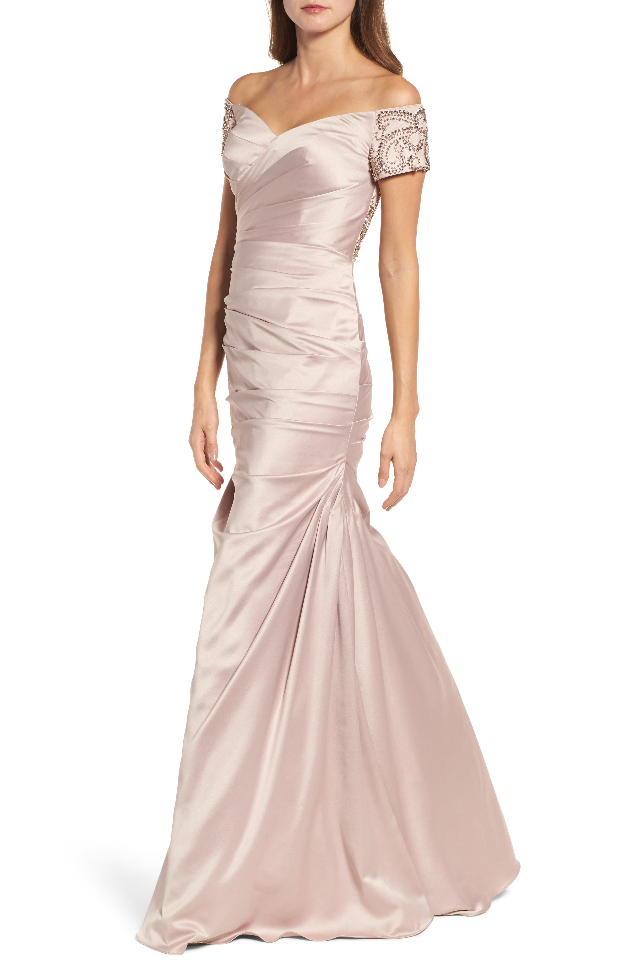 Beaded Back Off the Shoulder Gown,                         Main,                         color, Champagne