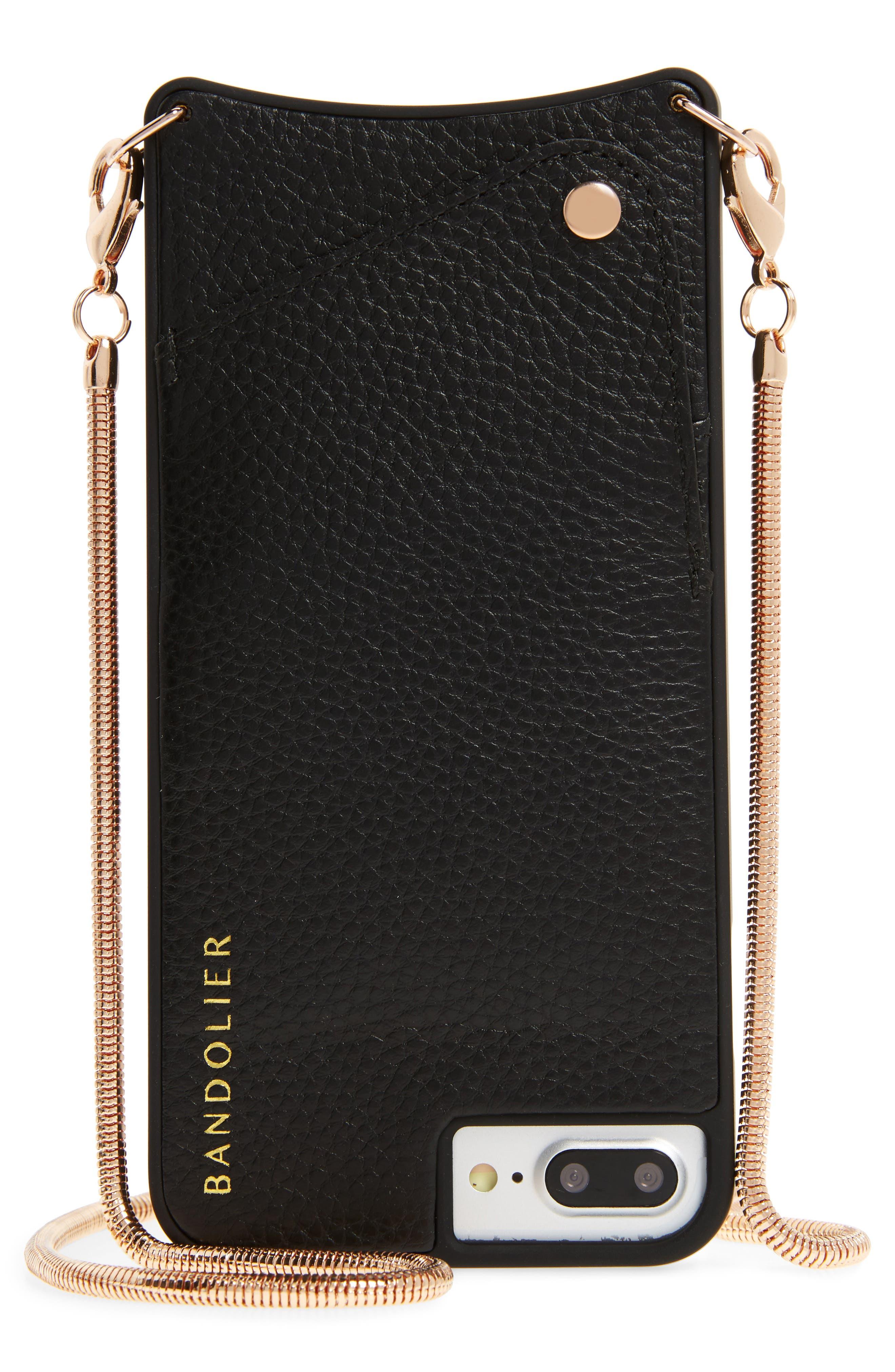 Belinda iPhone 6/6s/7/8 & 6/6s/7/8 Plus Crossbody Case,                         Main,                         color, Black/ Rose Gold