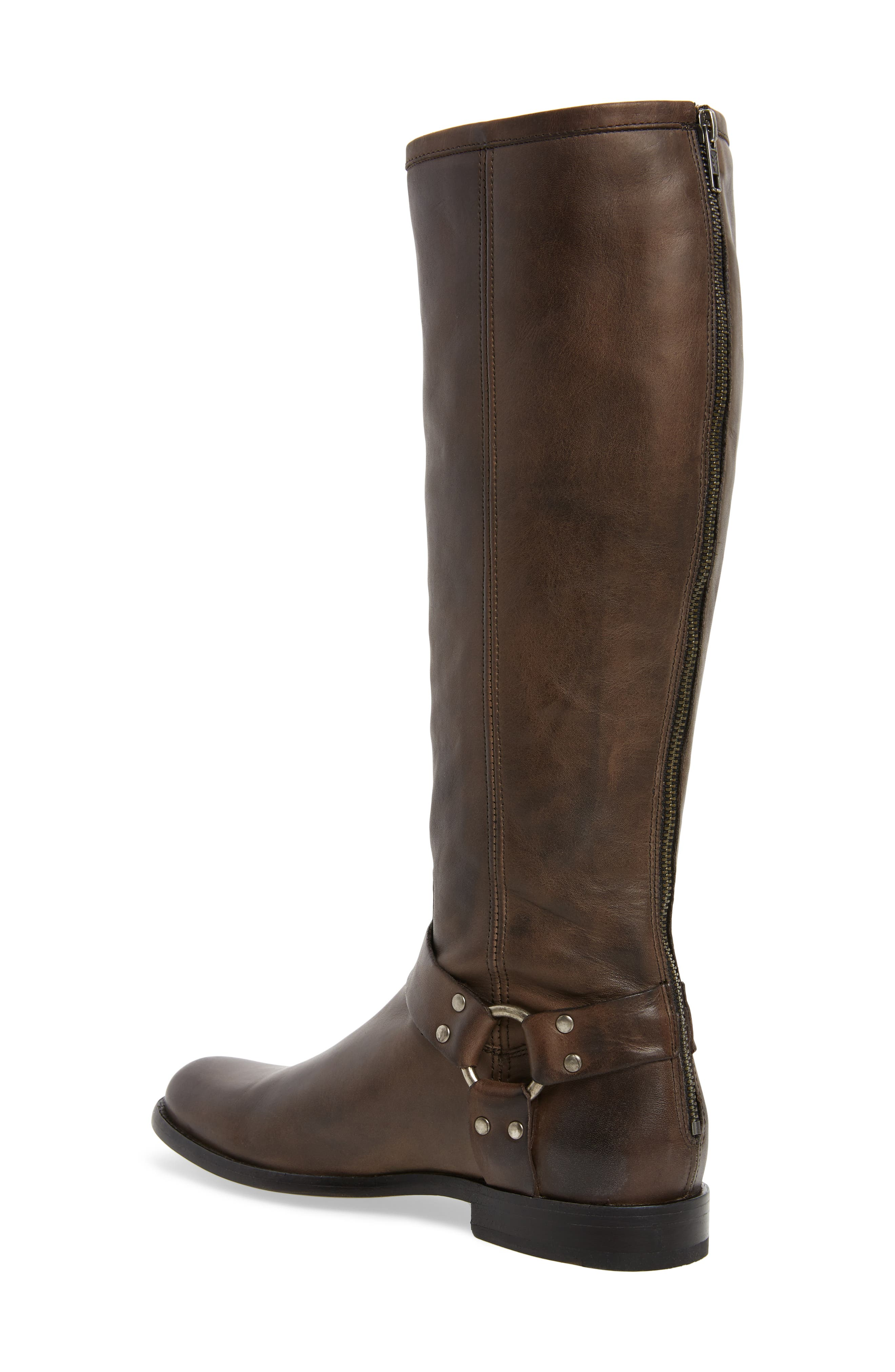 Phillip Harness Tall Boot,                             Alternate thumbnail 2, color,                             Smoke Leather