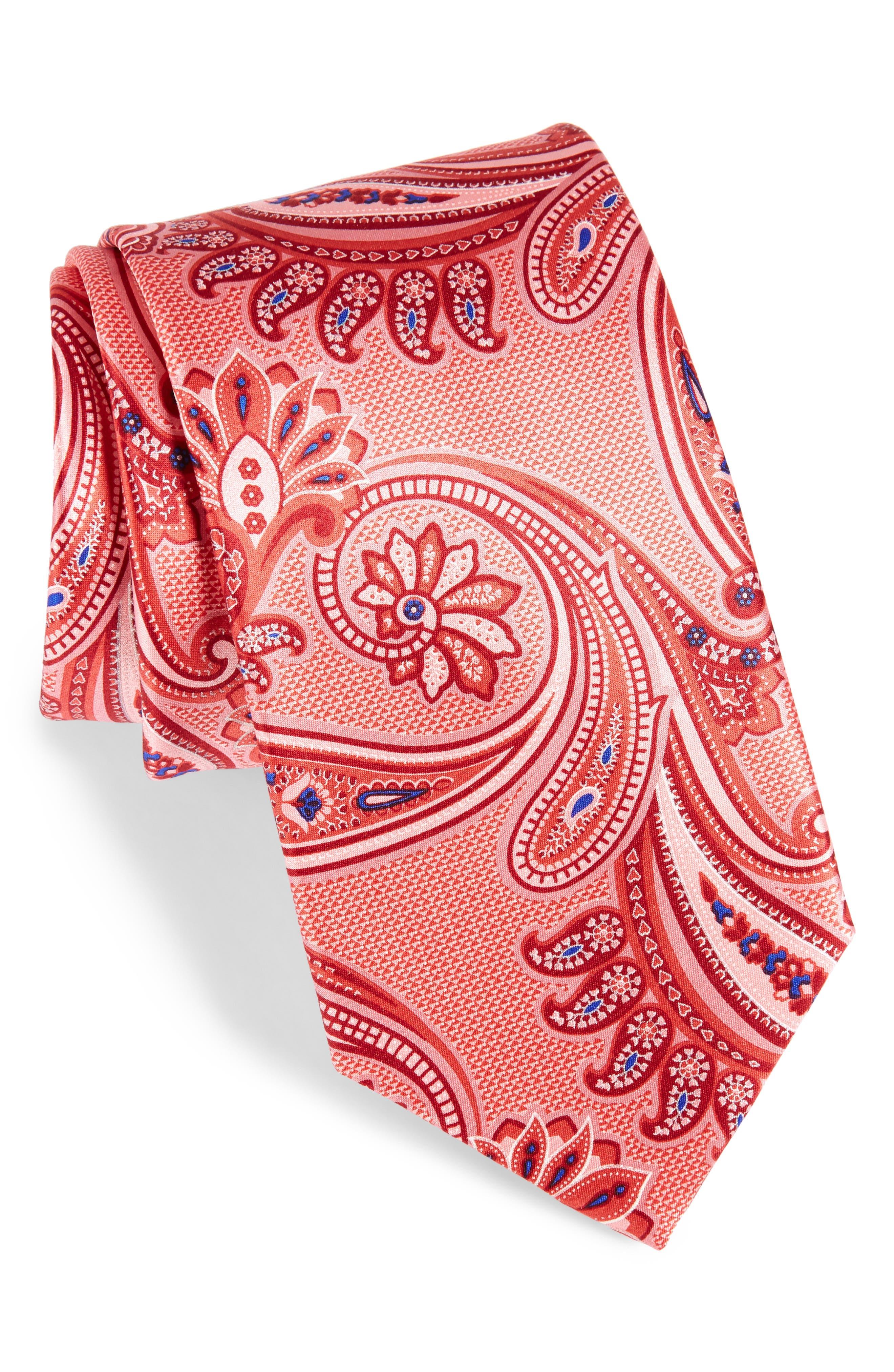 Paisley Silk Tie,                         Main,                         color, Light Red