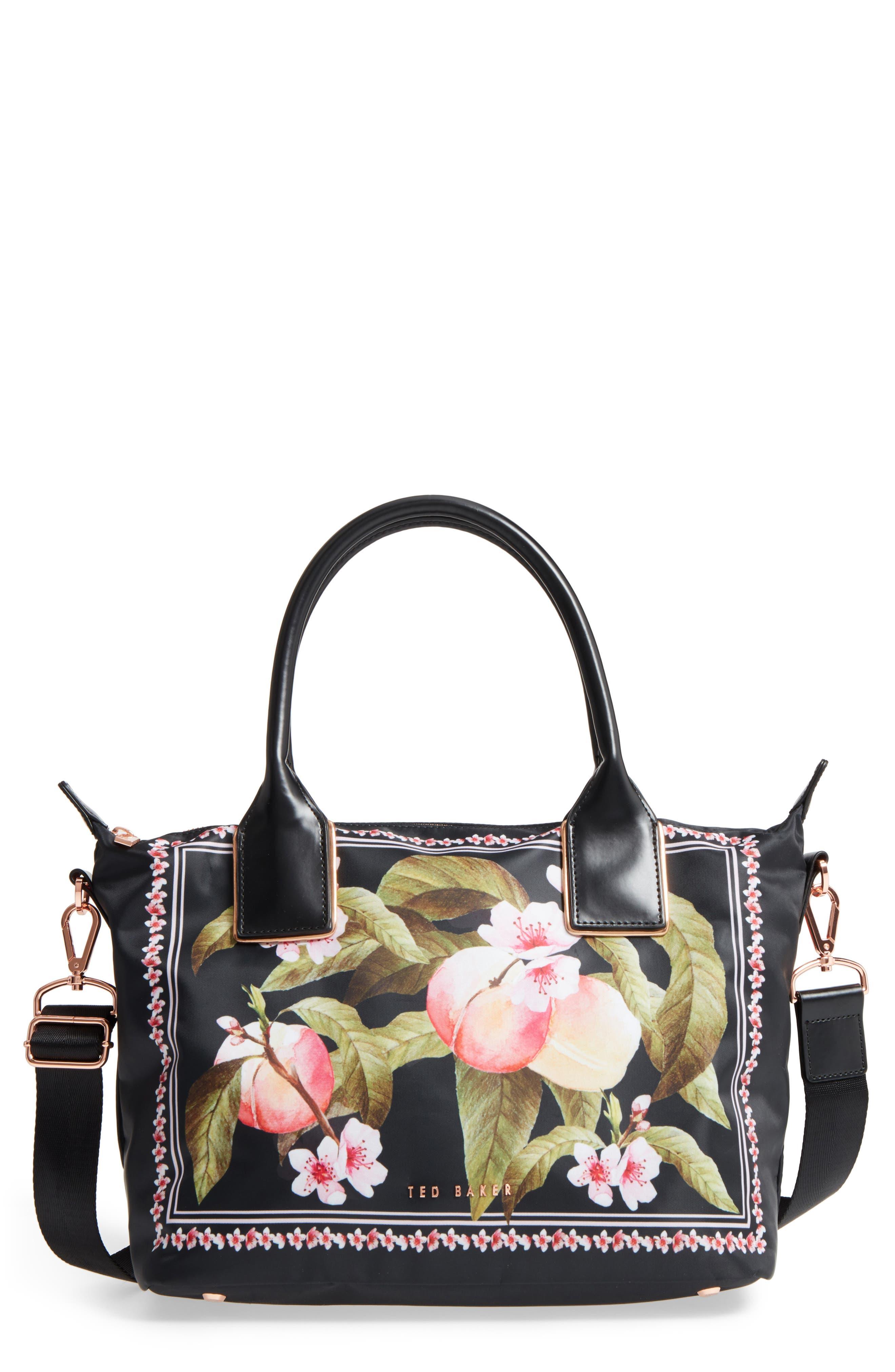 Robbin Peach Blossom Nylon Tote,                         Main,                         color, Black