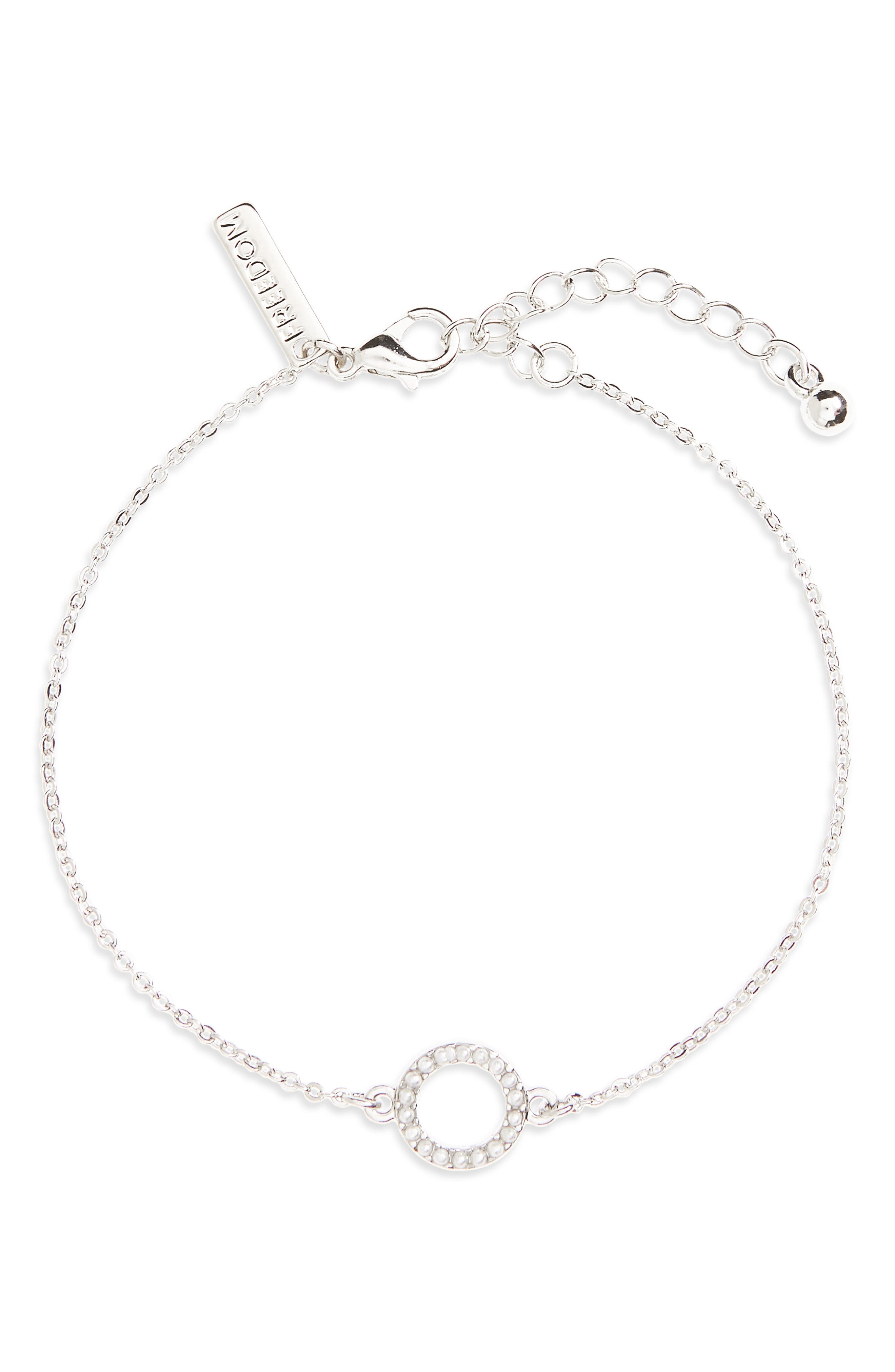 Imitation Pearl Circle Bracelet,                         Main,                         color, Silver