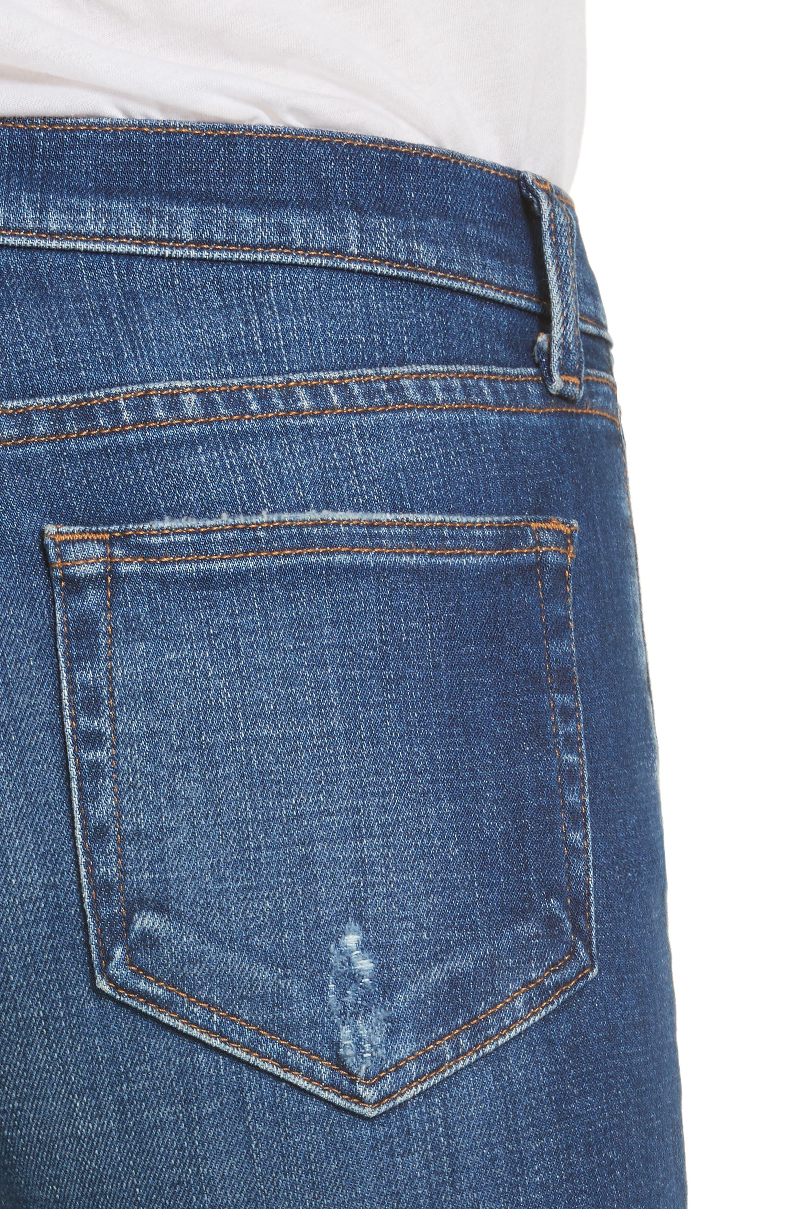 Rachel Ripped Crop Slim Fit Jeans,                             Alternate thumbnail 4, color,                             Diamond Destruct