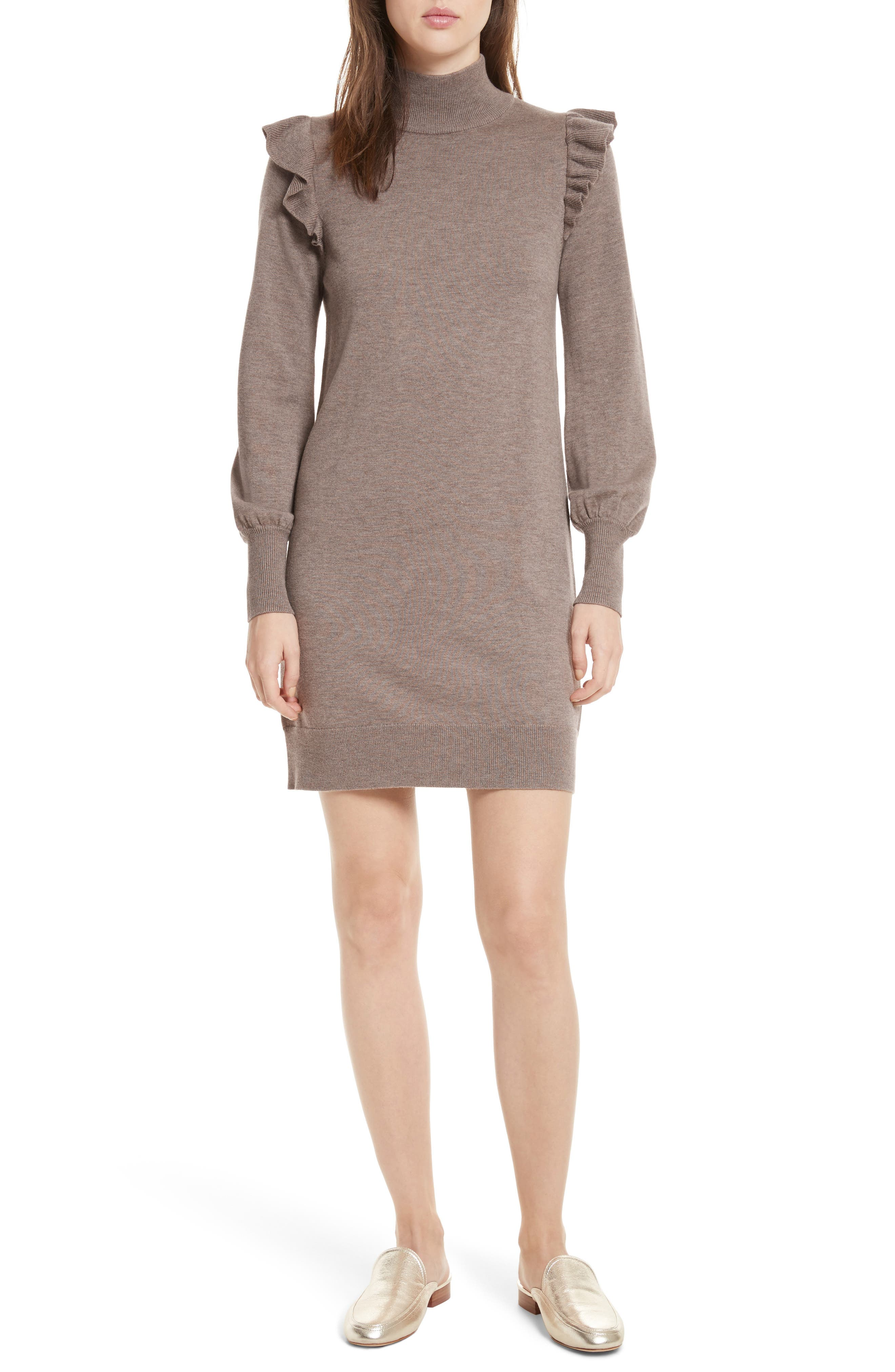 Catriona Wool & Silk Sweater Dress,                             Main thumbnail 1, color,                             Heather Mushroom