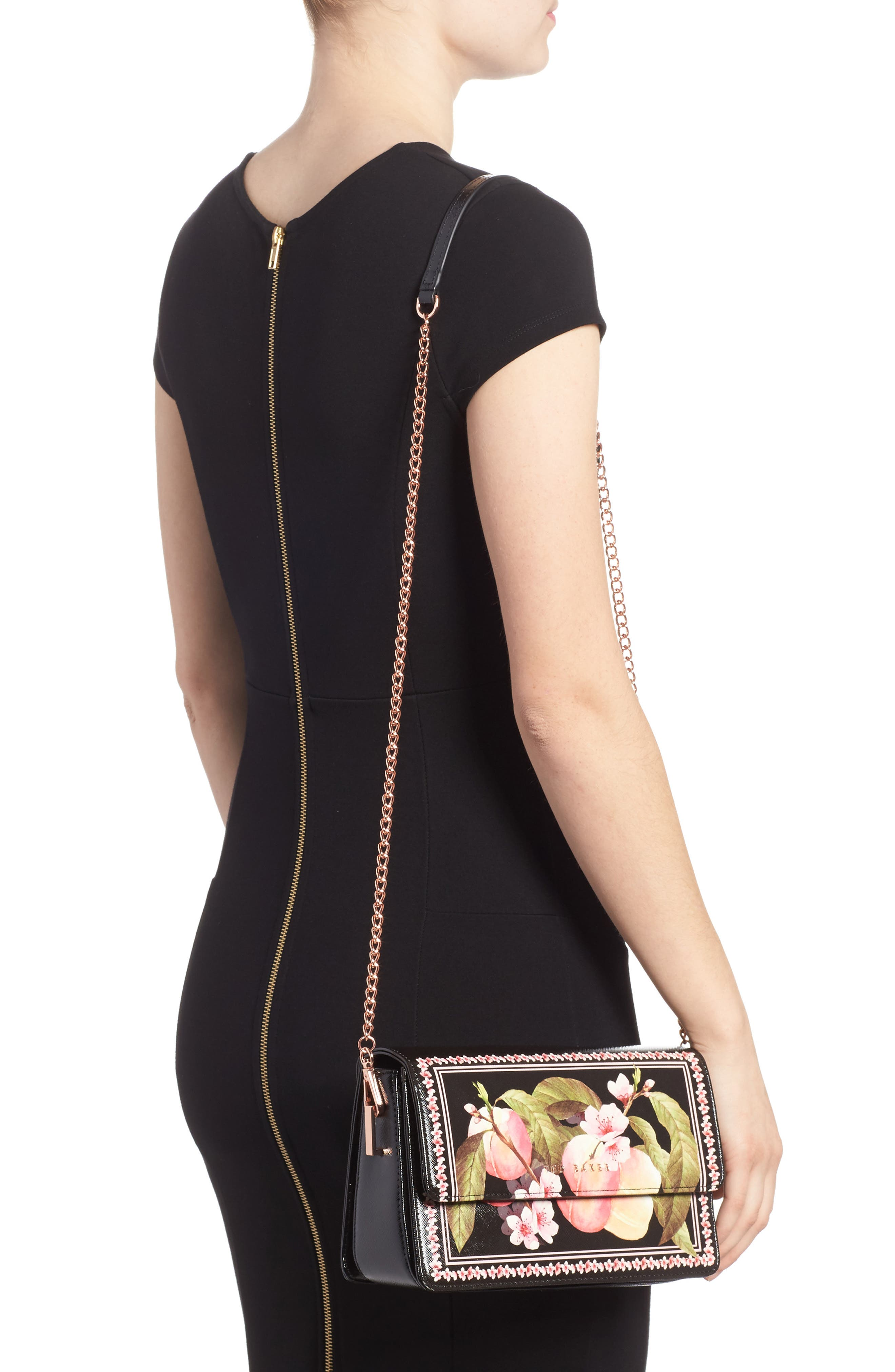 Jesenia Peach Blossom Faux Leather Crossbody Bag,                             Alternate thumbnail 2, color,                             Black