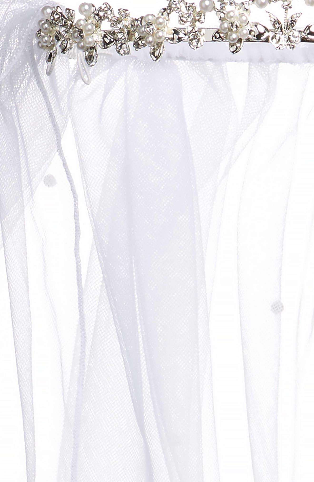 Alternate Image 5  - Lauren Marie Imitation Pearl Crown & Veil (Big Girls)
