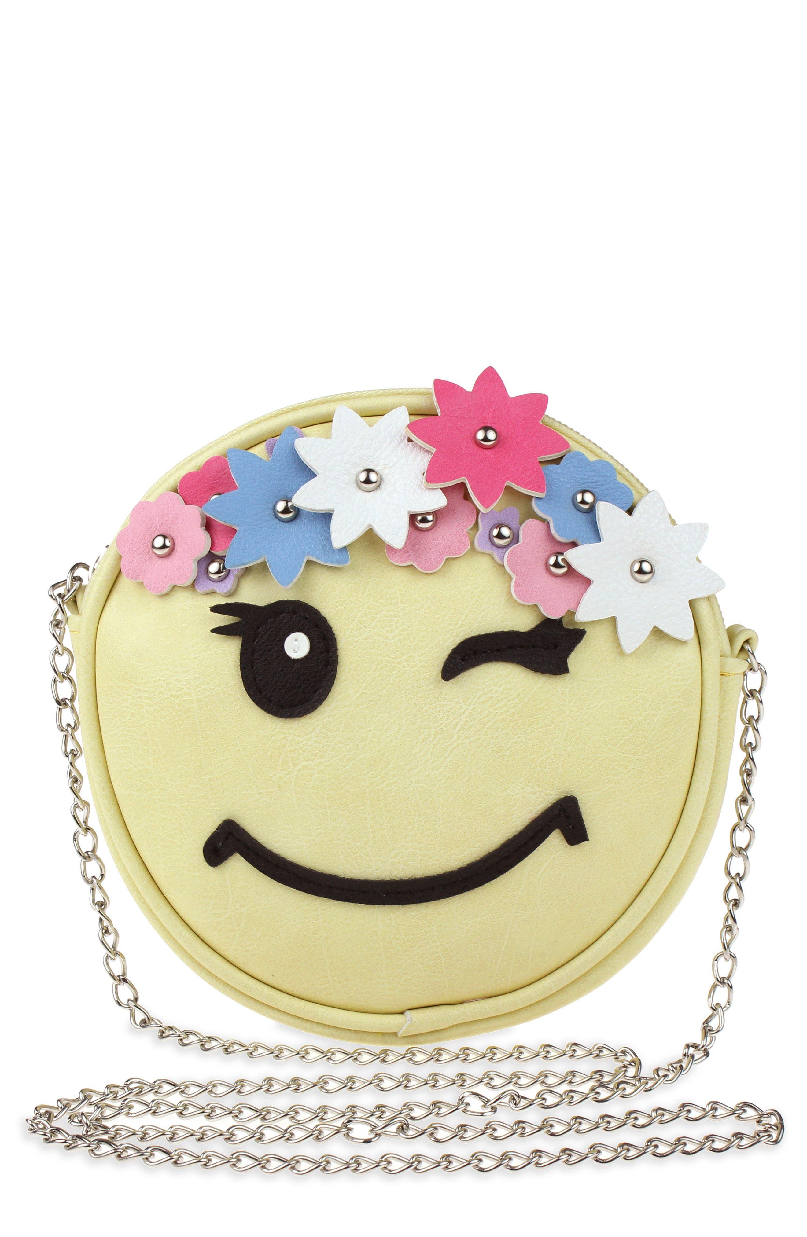 Floral Appliqué Faux Leather Crossbody Bag,                         Main,                         color, Yellow Combo