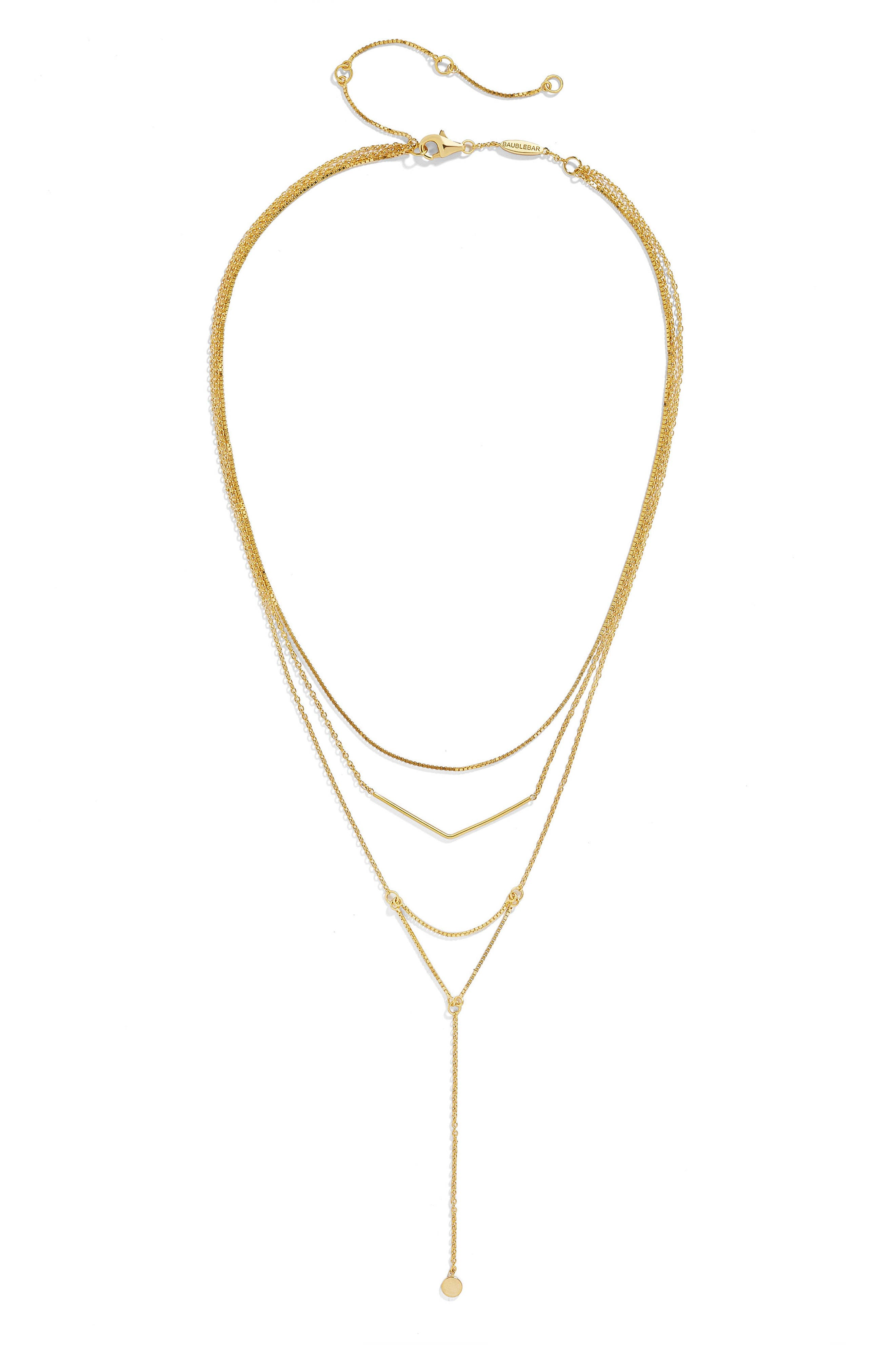 Main Image - BaubleBar Tris Everyday Connected Y 18-Karat Gold Plate Necklace