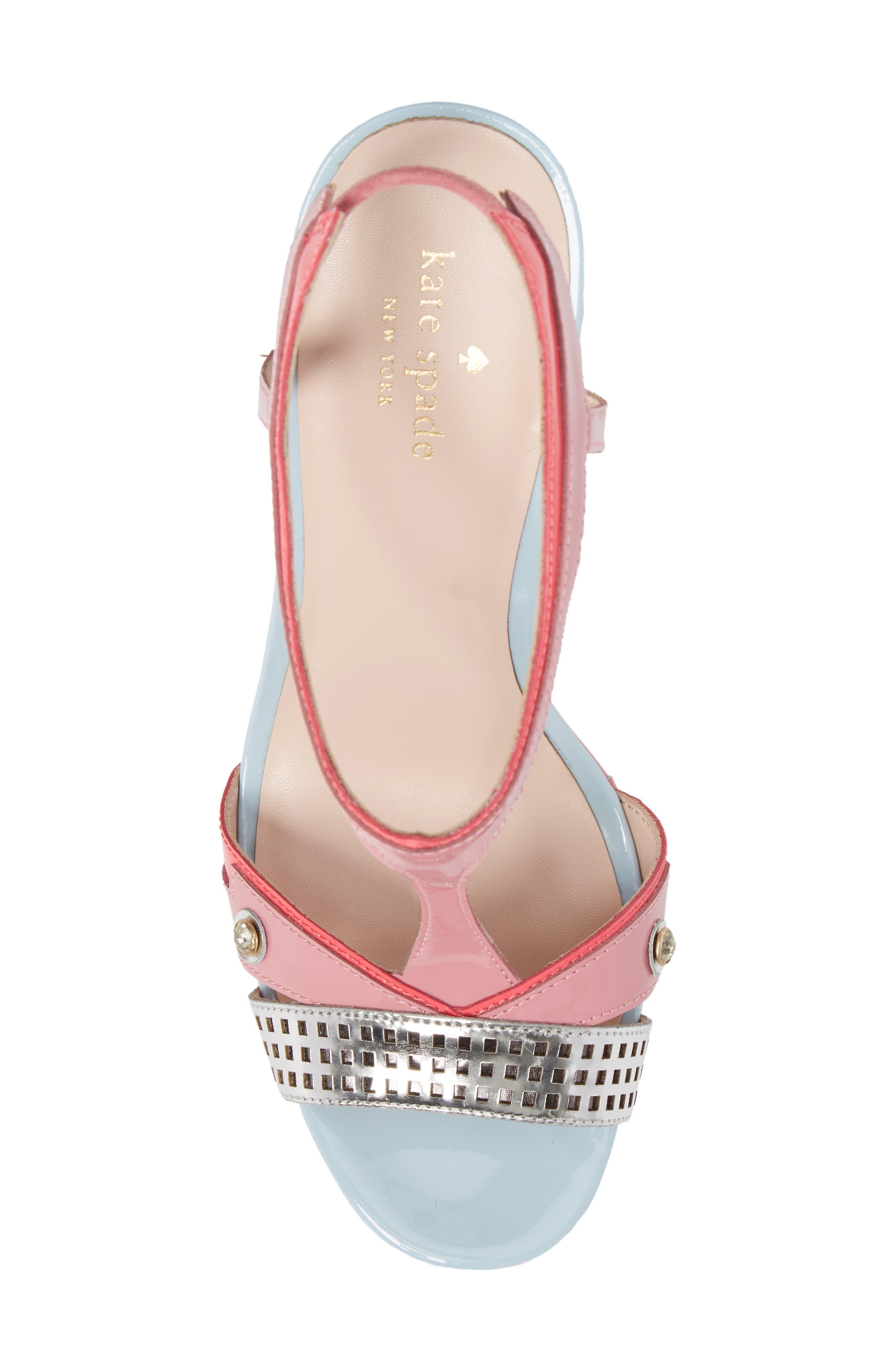deanna wedge t-strap sandal,                             Alternate thumbnail 5, color,                             Petunia Patent