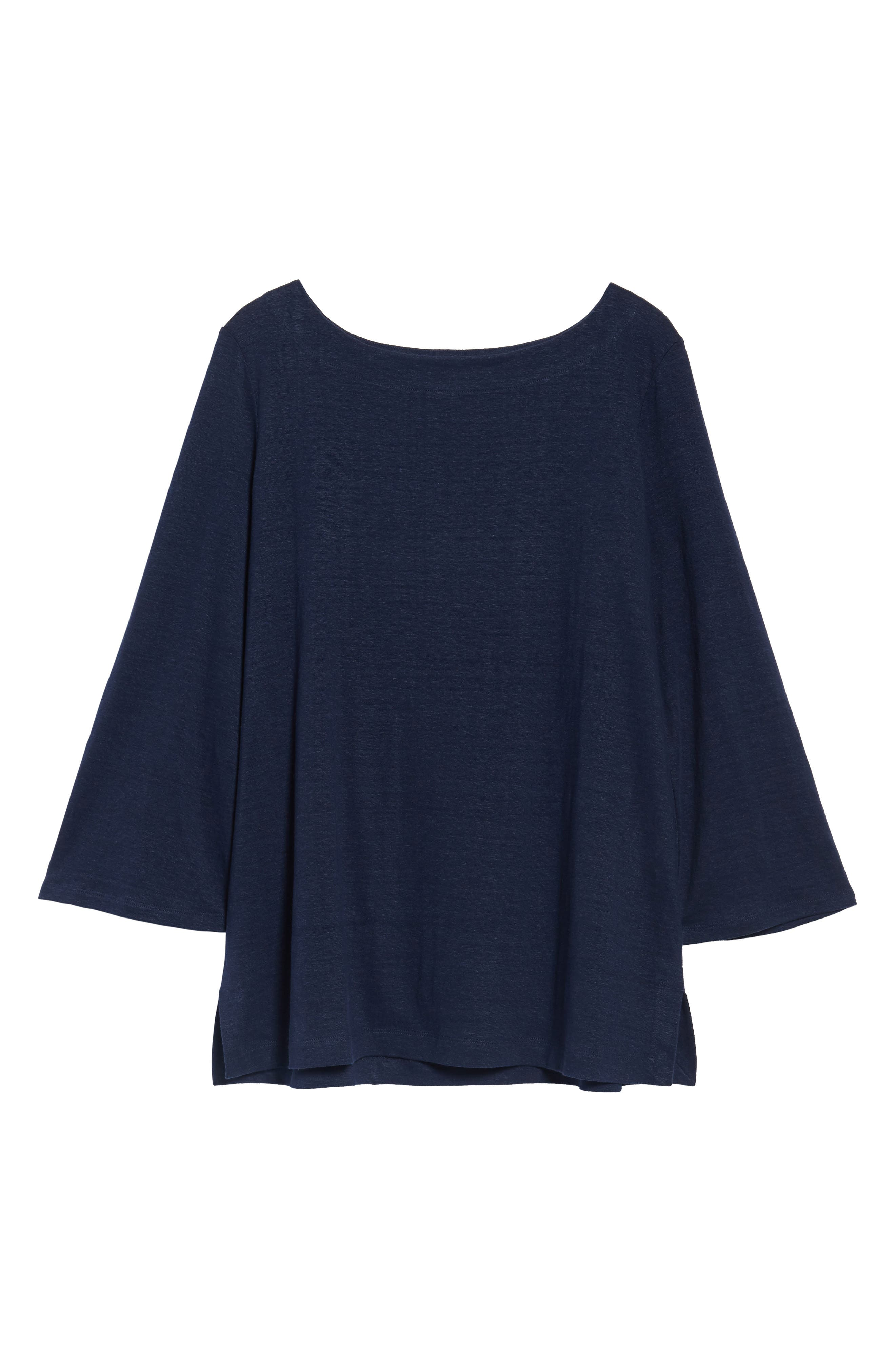 Organic Linen Bateau Neck Top,                             Alternate thumbnail 6, color,                             Midnight