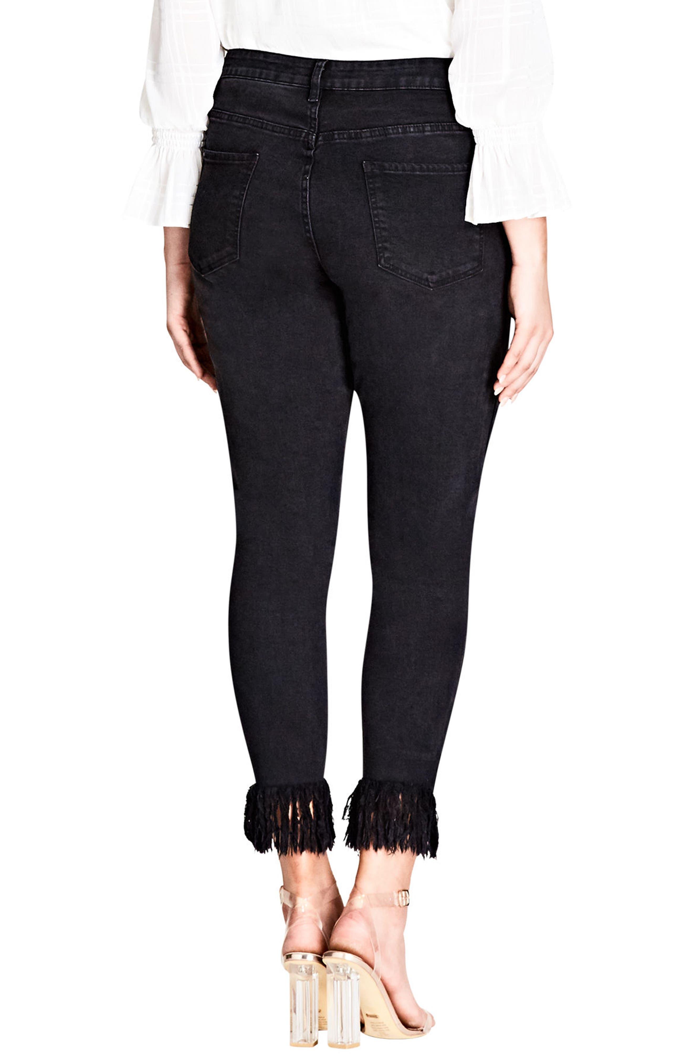 Jean Harley Overfrayed Hem Skinny Jeans,                             Alternate thumbnail 2, color,                             Black