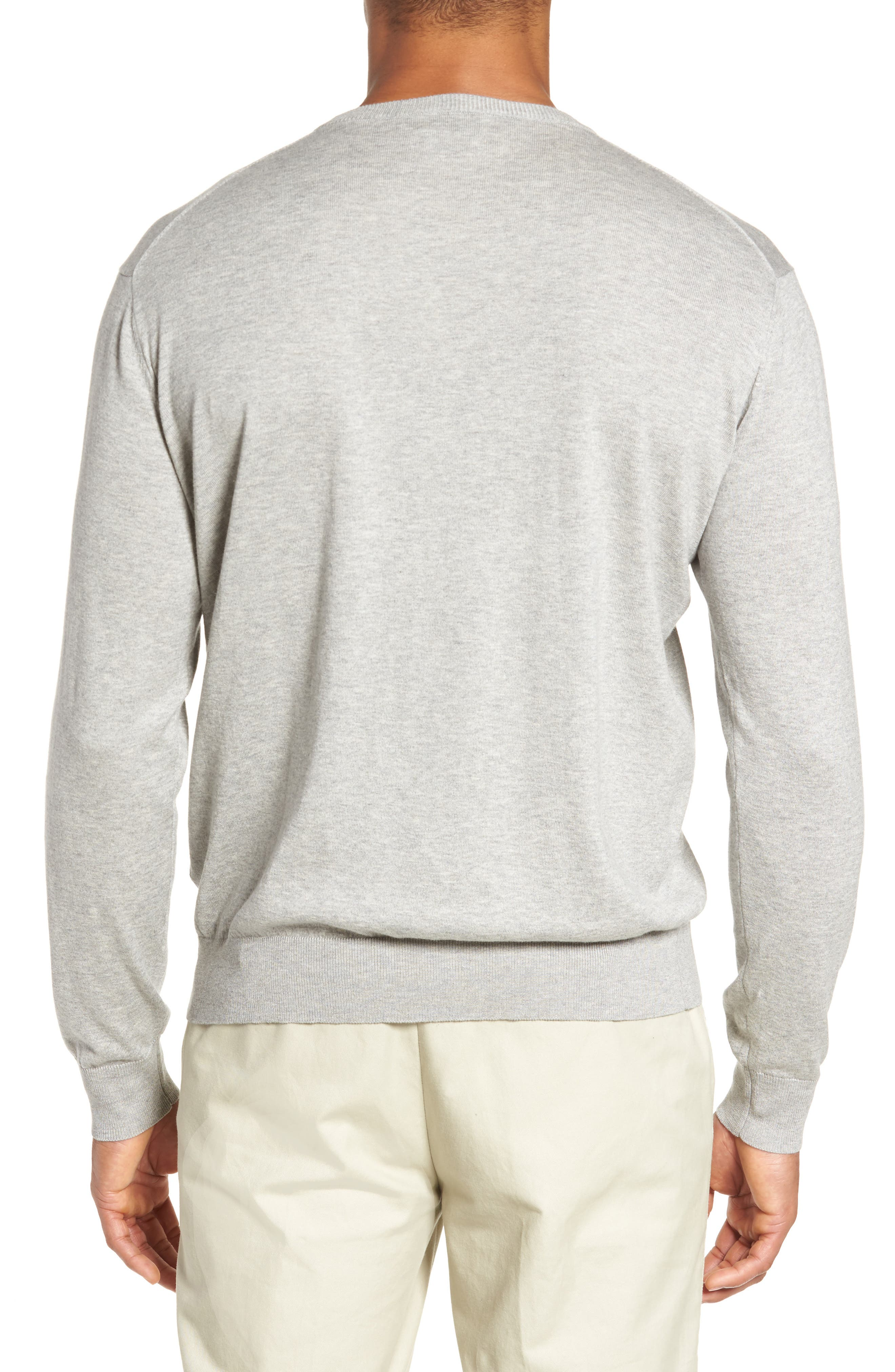 Crown Soft Cotton & Silk Sweater,                             Alternate thumbnail 2, color,                             Grey Sound
