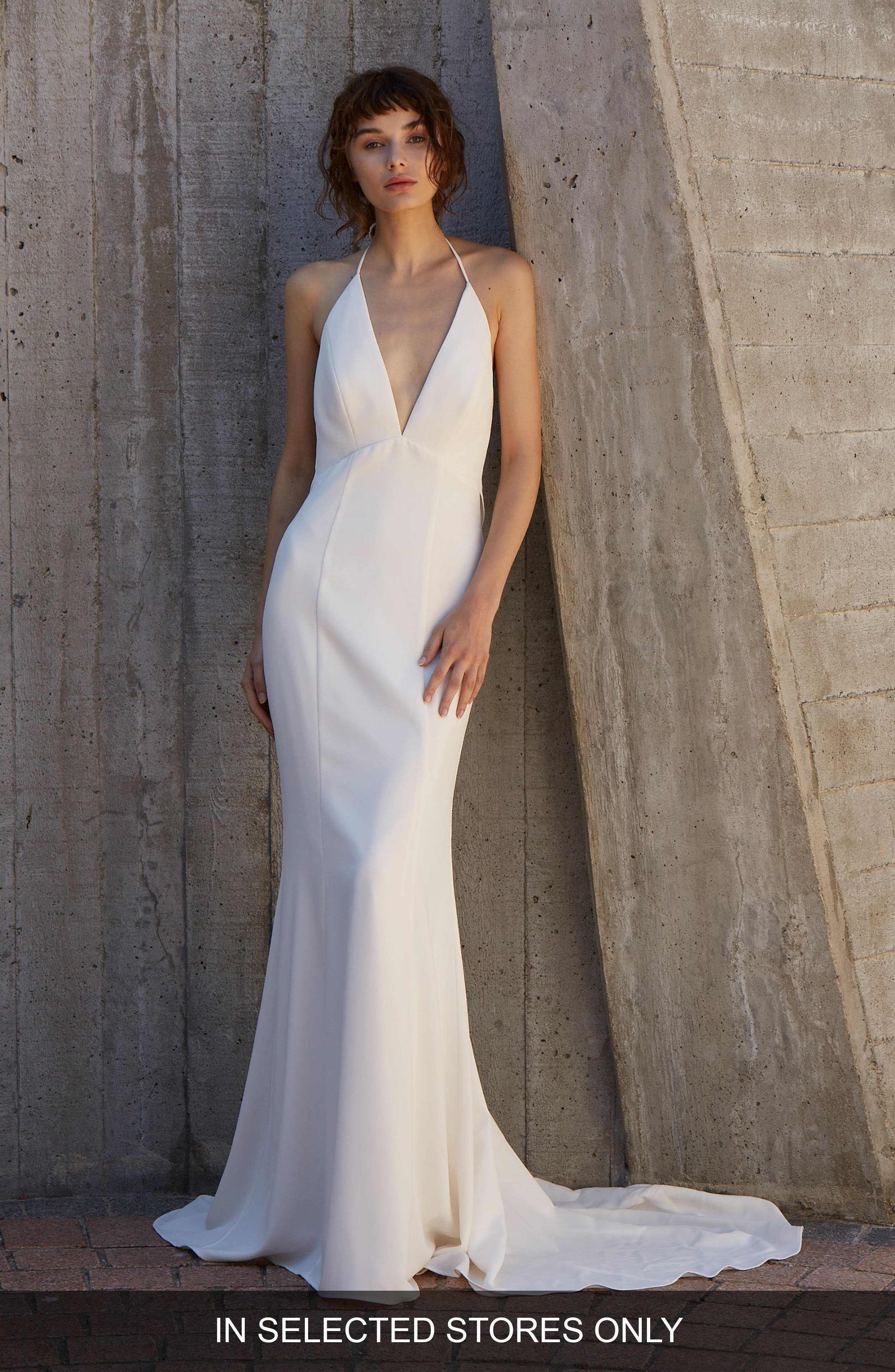 Blakely Halter Neck Trumpet Gown,                             Main thumbnail 1, color,                             Ivory