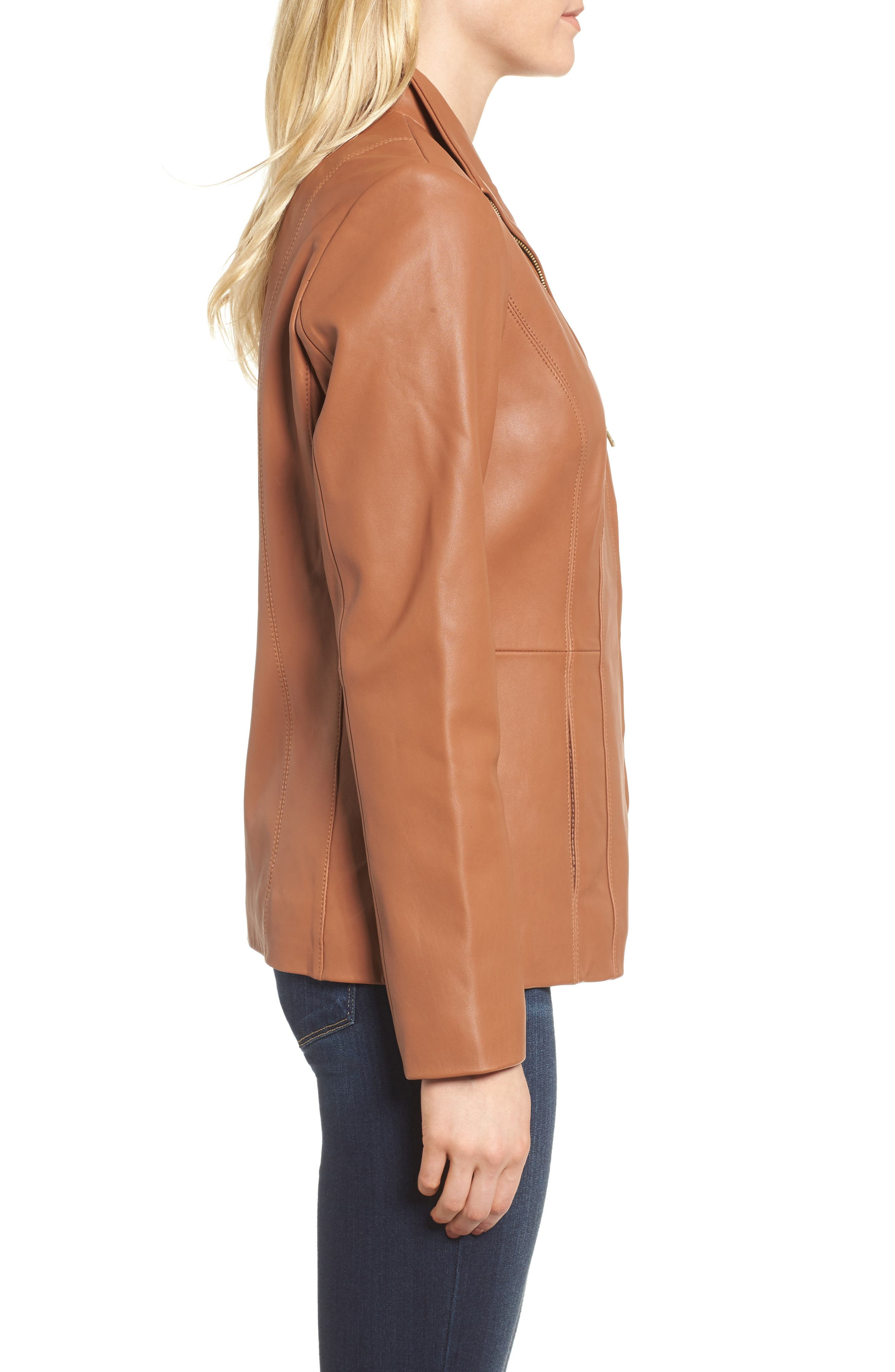 Leather Jacket,                             Alternate thumbnail 3, color,                             Cognac