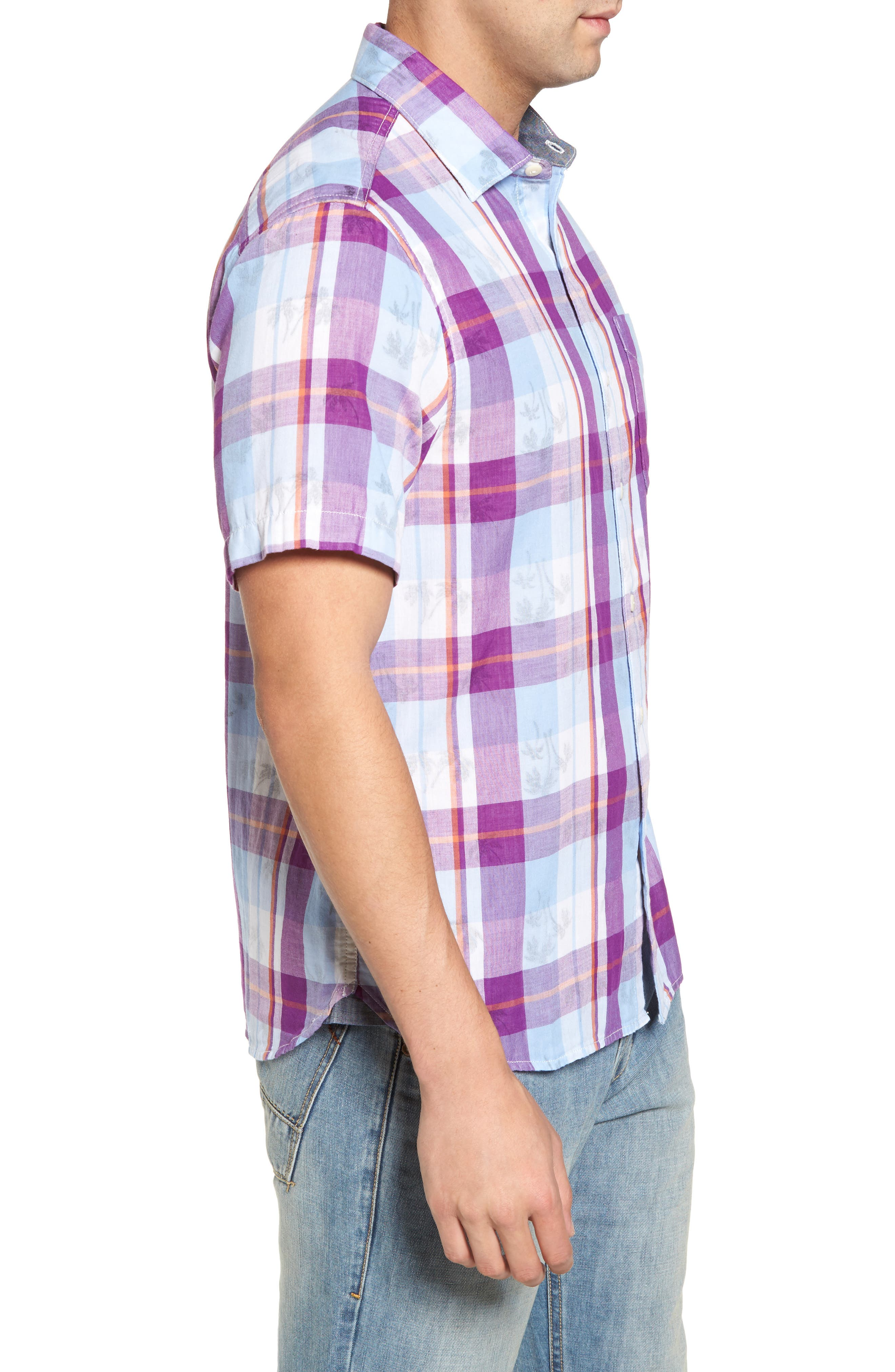 Double Flora Plaid Cotton Camp Shirt,                             Alternate thumbnail 3, color,                             Spring Fuchsia