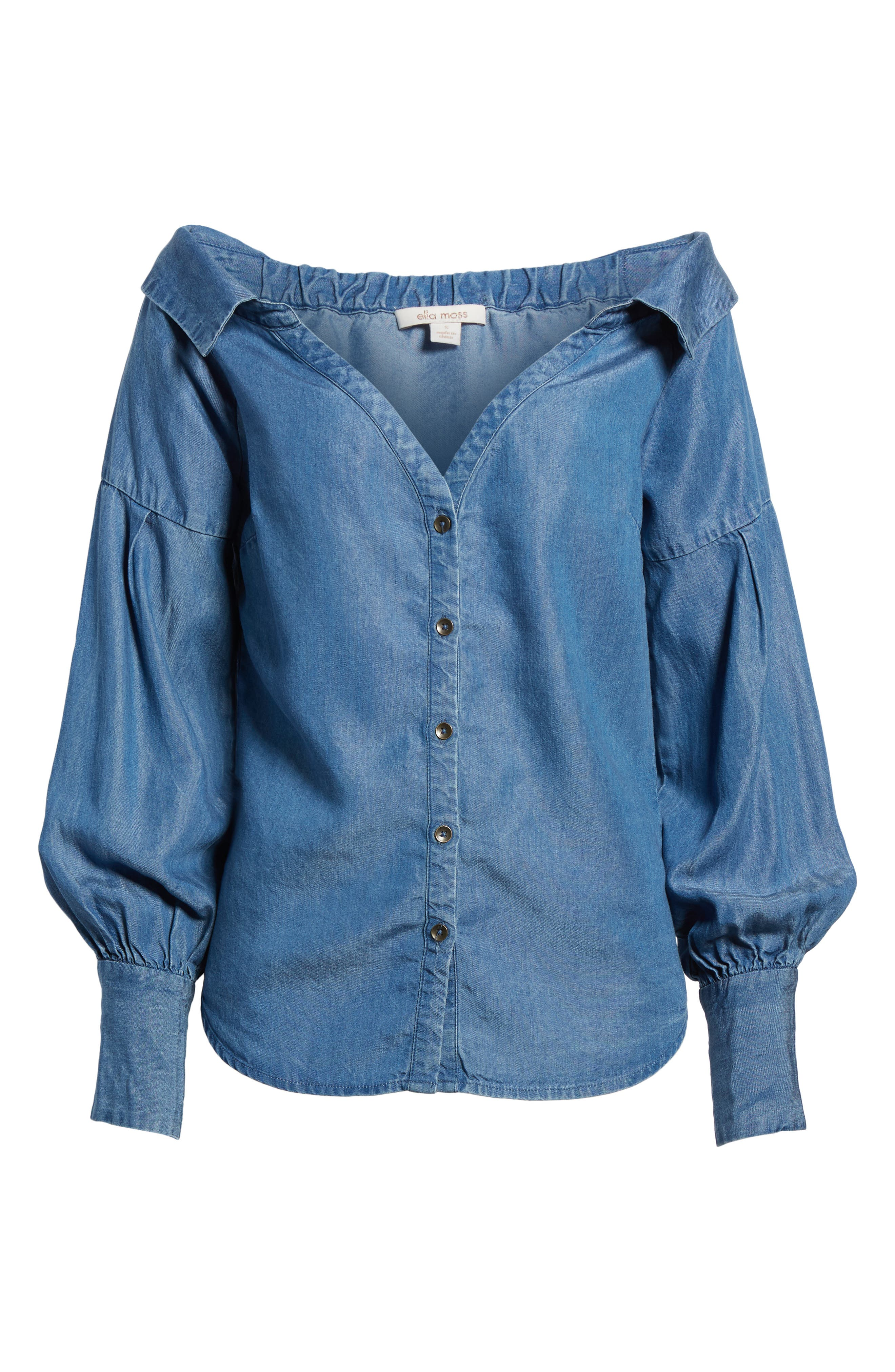 Off the Shoulder Chambray Top,                             Alternate thumbnail 6, color,                             Med Wash