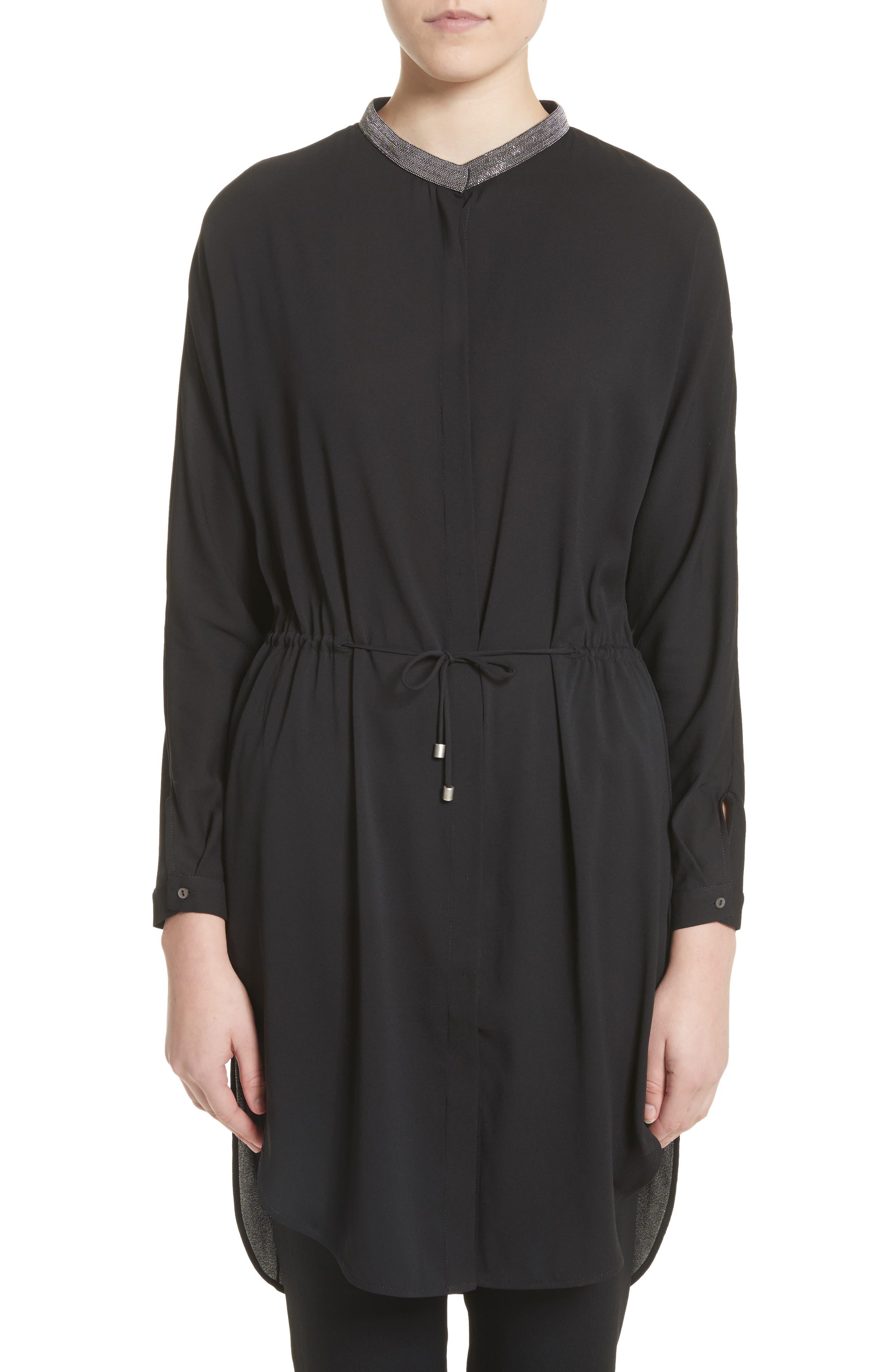 Stretch Silk Drawstring Tunic,                         Main,                         color, Black