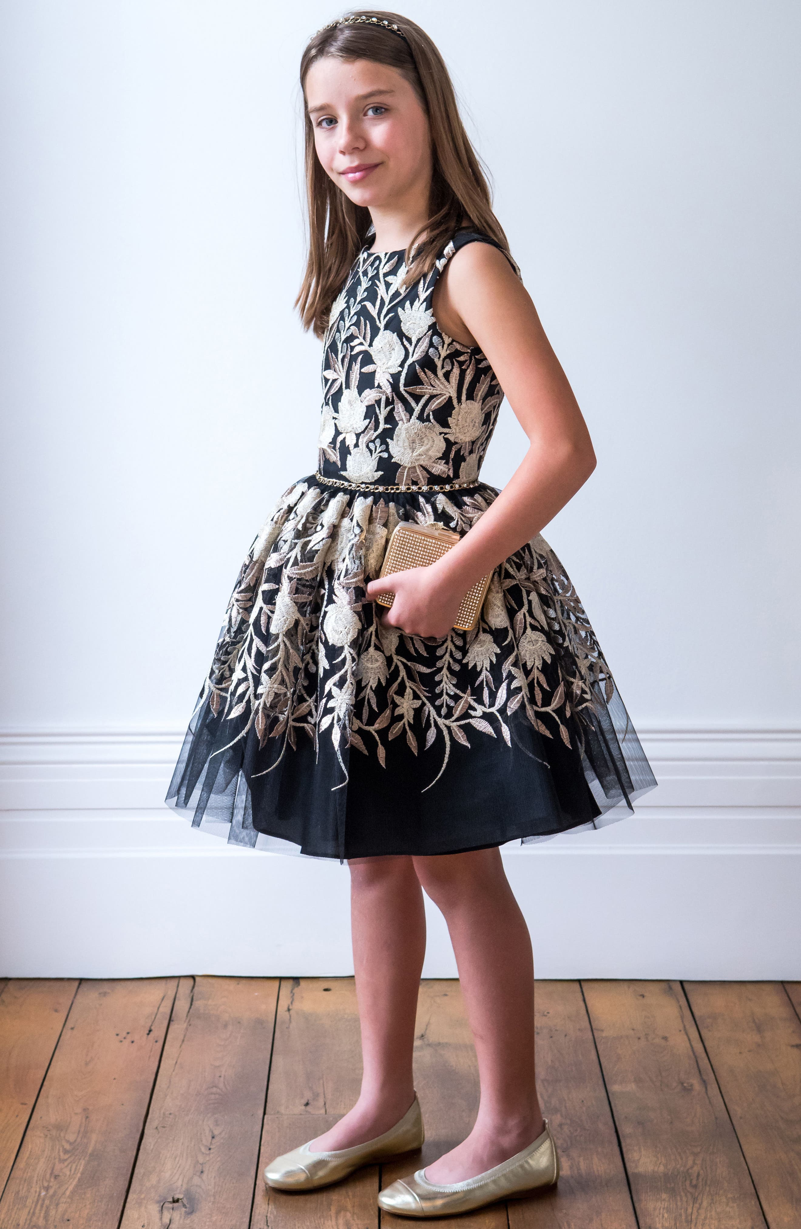 Embroidered Tulle Dress,                             Alternate thumbnail 3, color,                             Black/ Gold