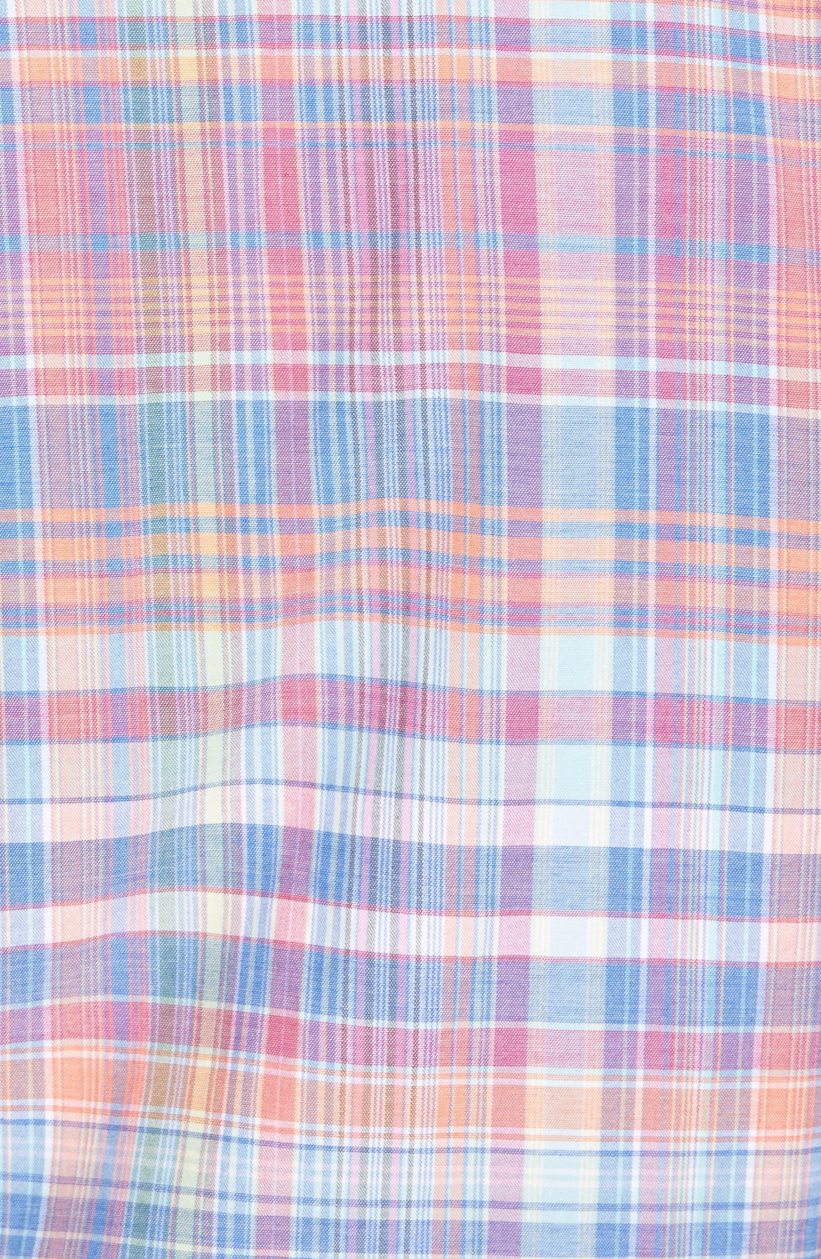 Mangrove Madras Regular Fit Sport Shirt,                             Alternate thumbnail 5, color,                             Virtual Pink