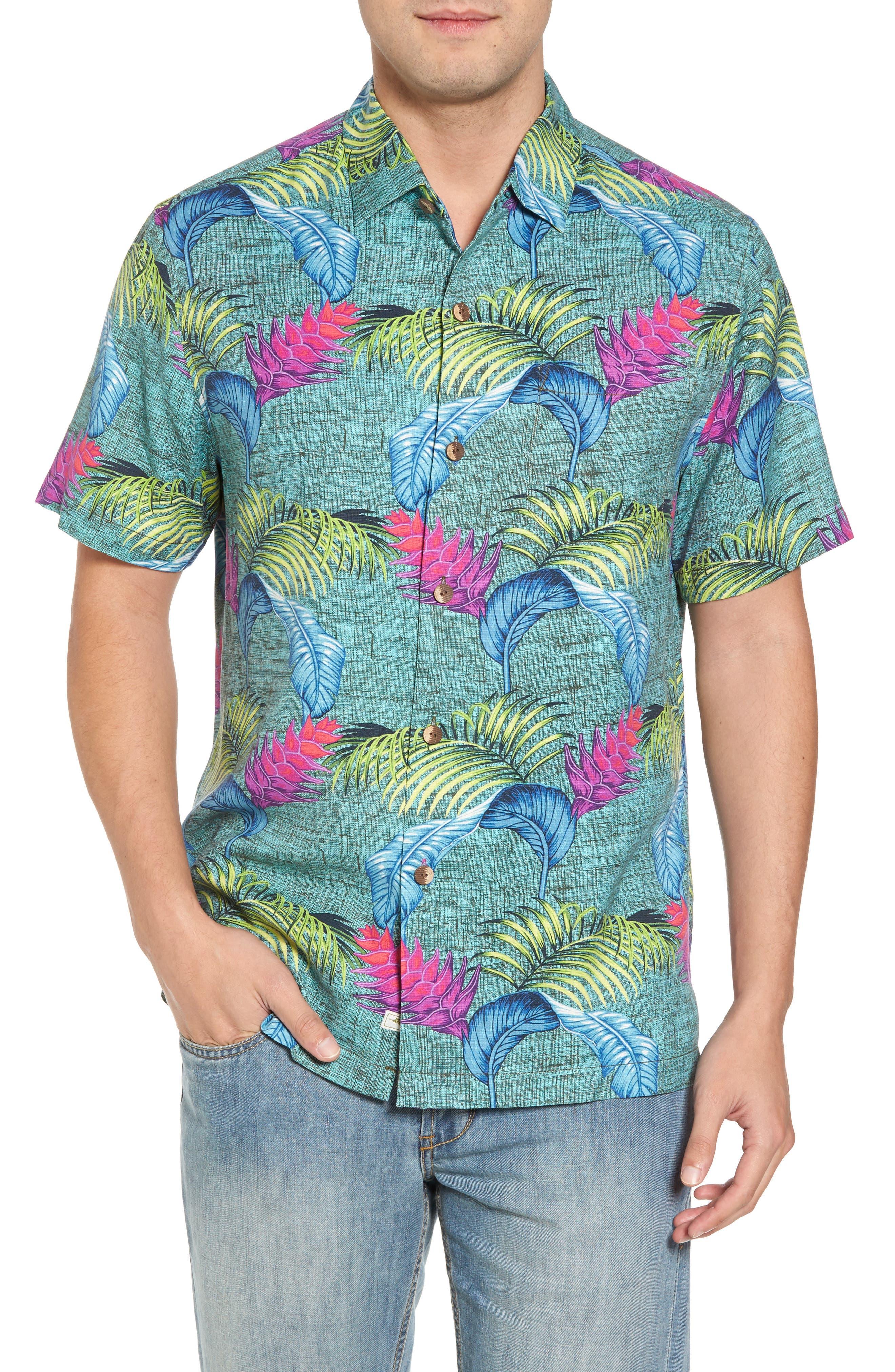 Boca Bouquet Silk Camp Shirt,                         Main,                         color, Grand Canal