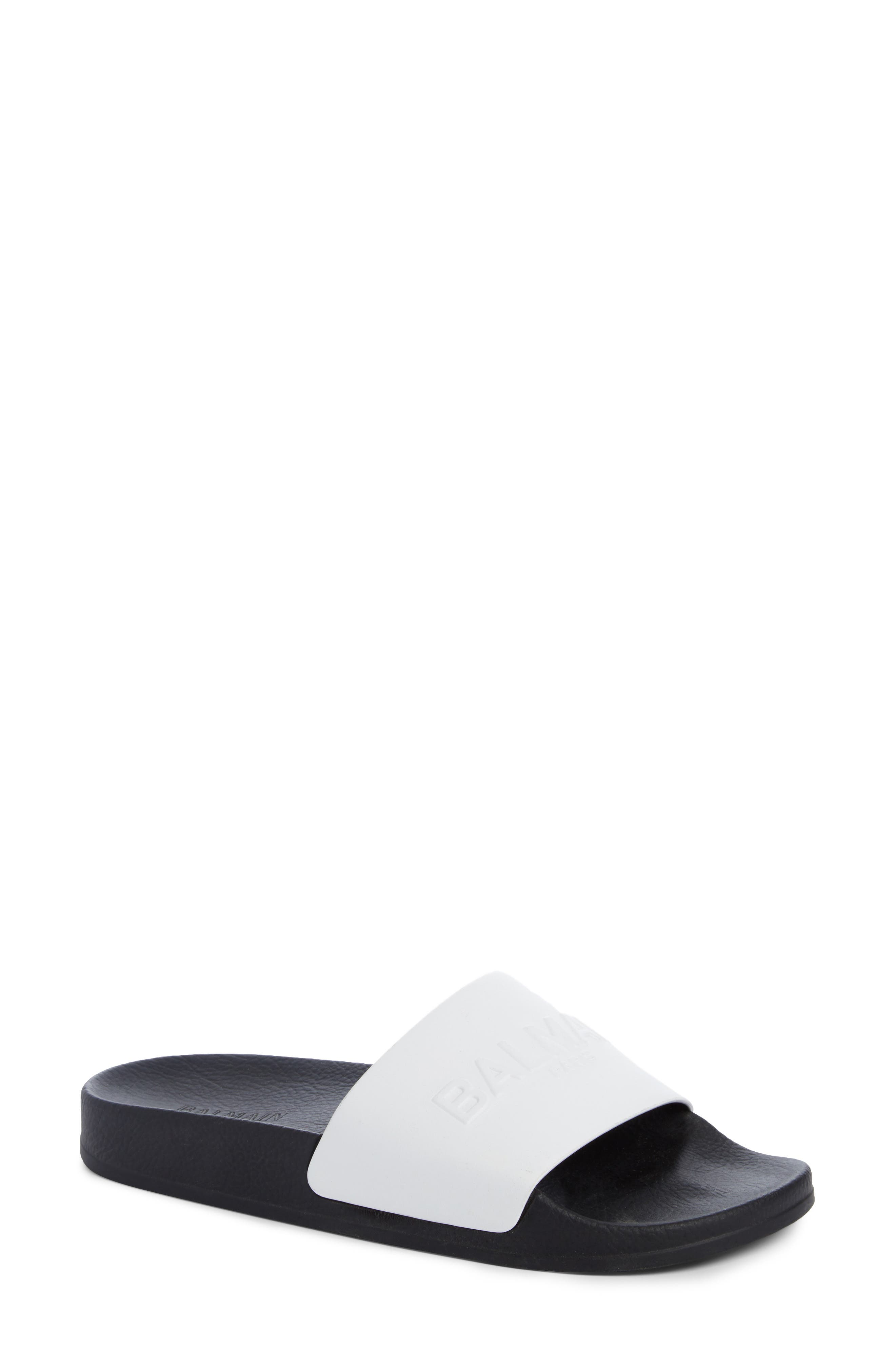 Balmain Calypso Logo Strap Slide Sandal (Women)