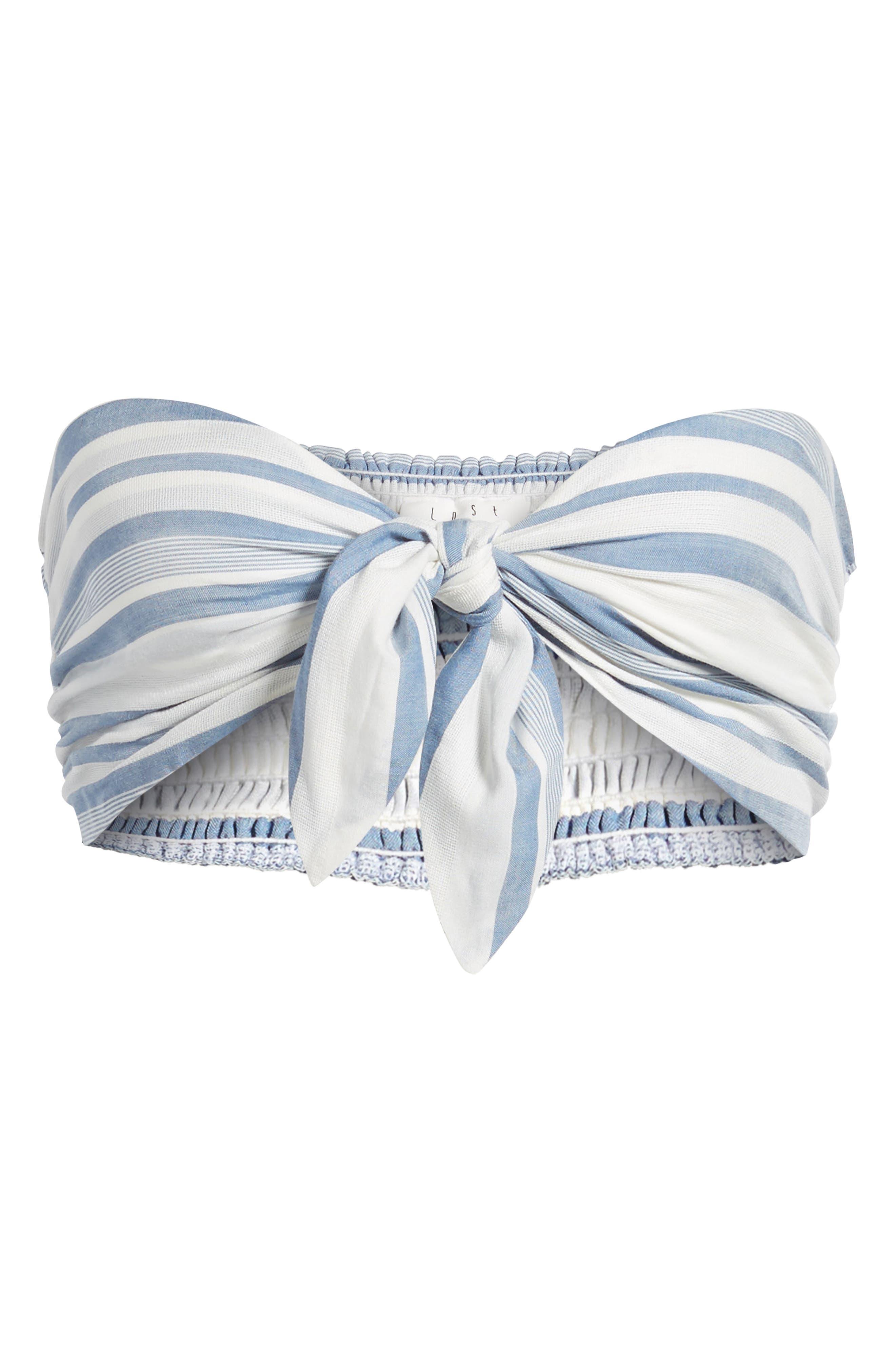 Marina Bandeau Top,                             Alternate thumbnail 7, color,                             White/ Blue