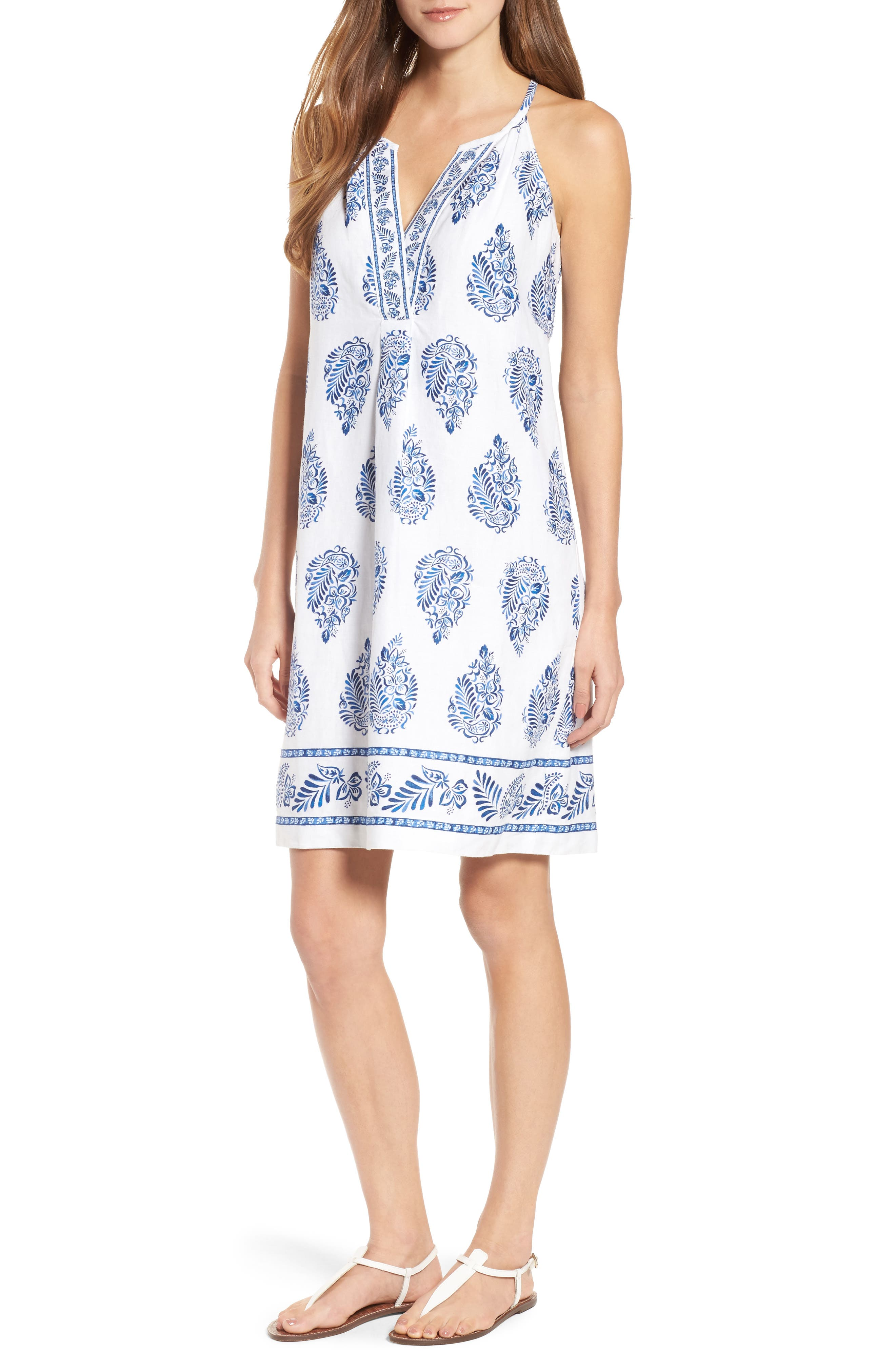 Paleys Paisley Sleeveless Shift Dress,                         Main,                         color, Cobalt